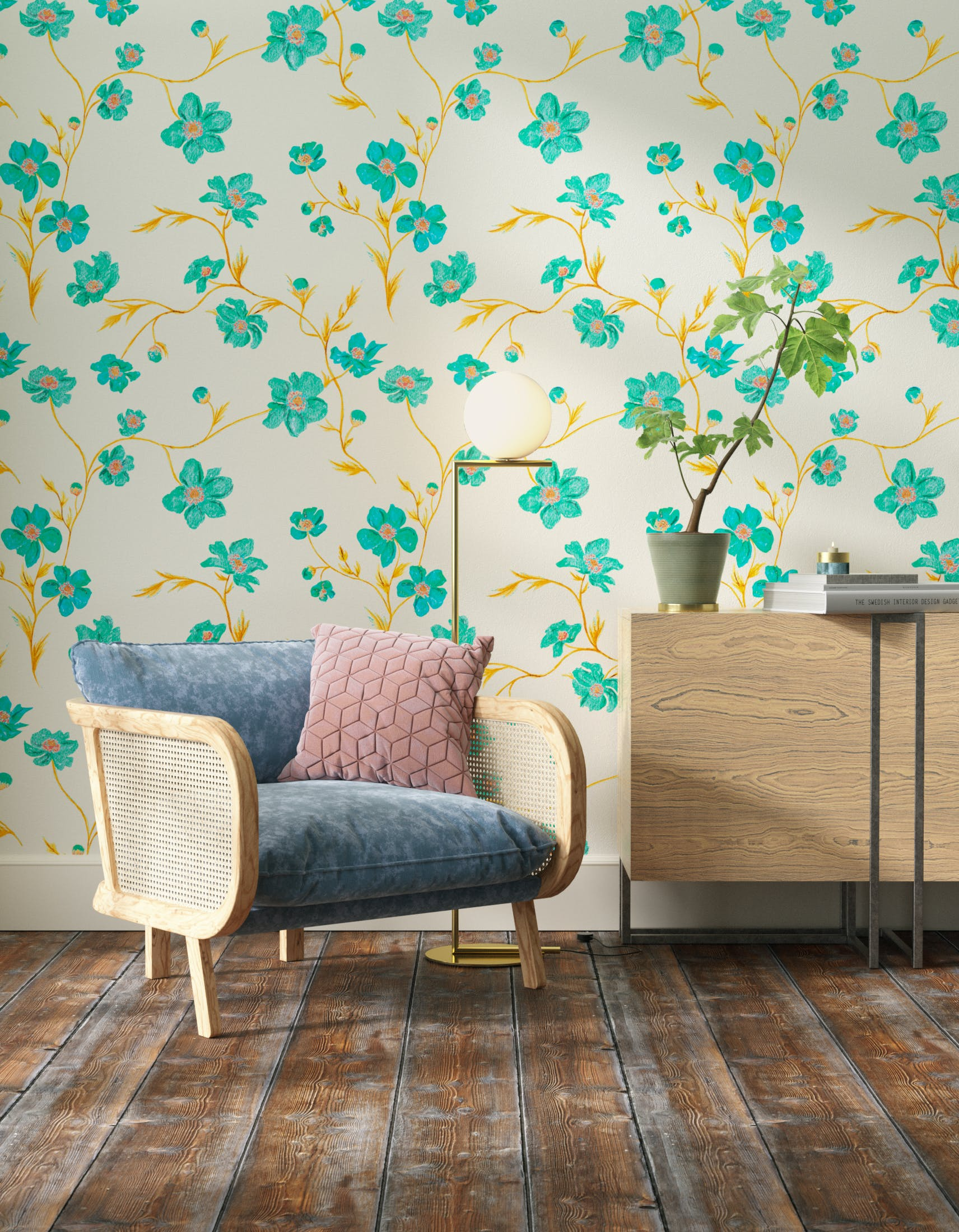 Living room decorated with Lick x Jenna Hewitt Anemone 01 turquoise floral wallpaper