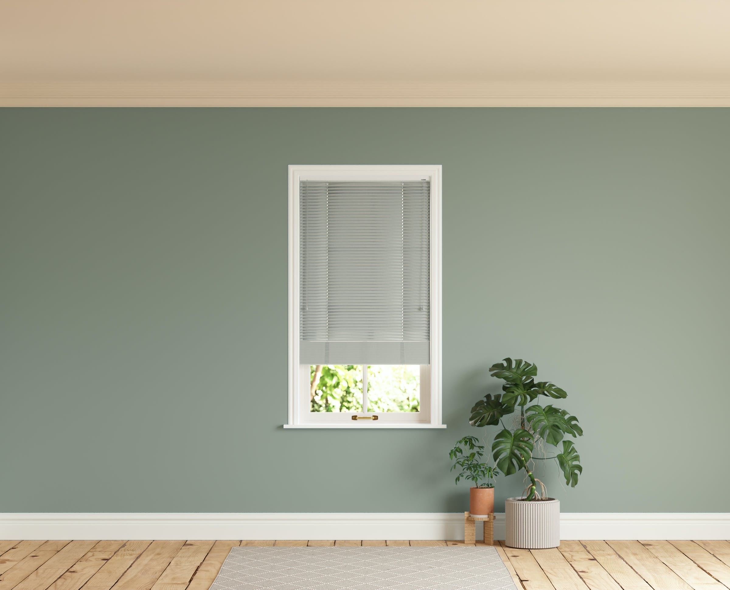 Room with walls painted in Lick Green 02 and Grey 04 Venetian blinds