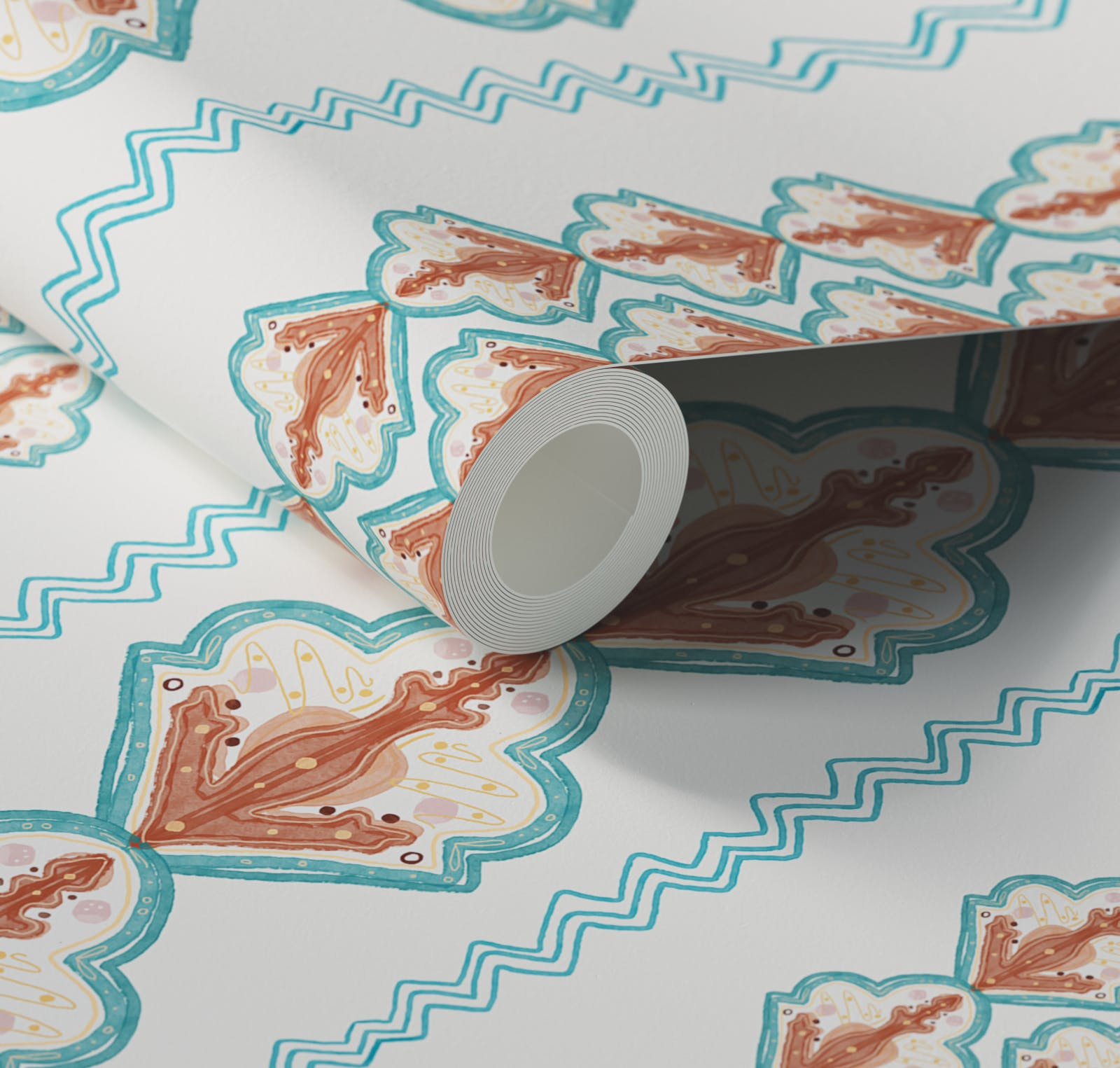 Close up of Lick x Lottie McDowell Travelling Tiles 02 orange patterned mosaic wallpaper