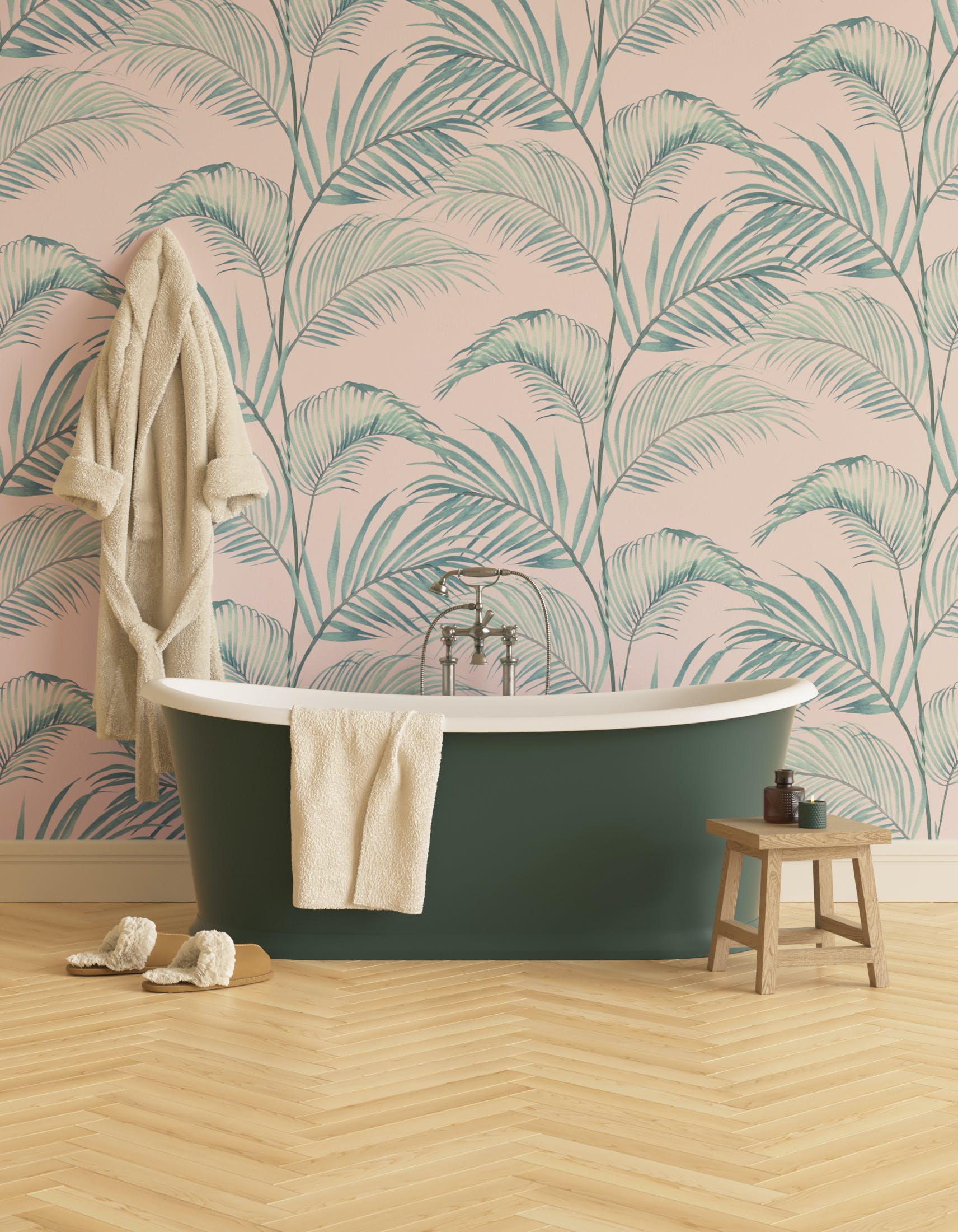 Bathroom decorated with Lick x Belinda Bayley Jungle 02 pink and green palm leaf wallpaper