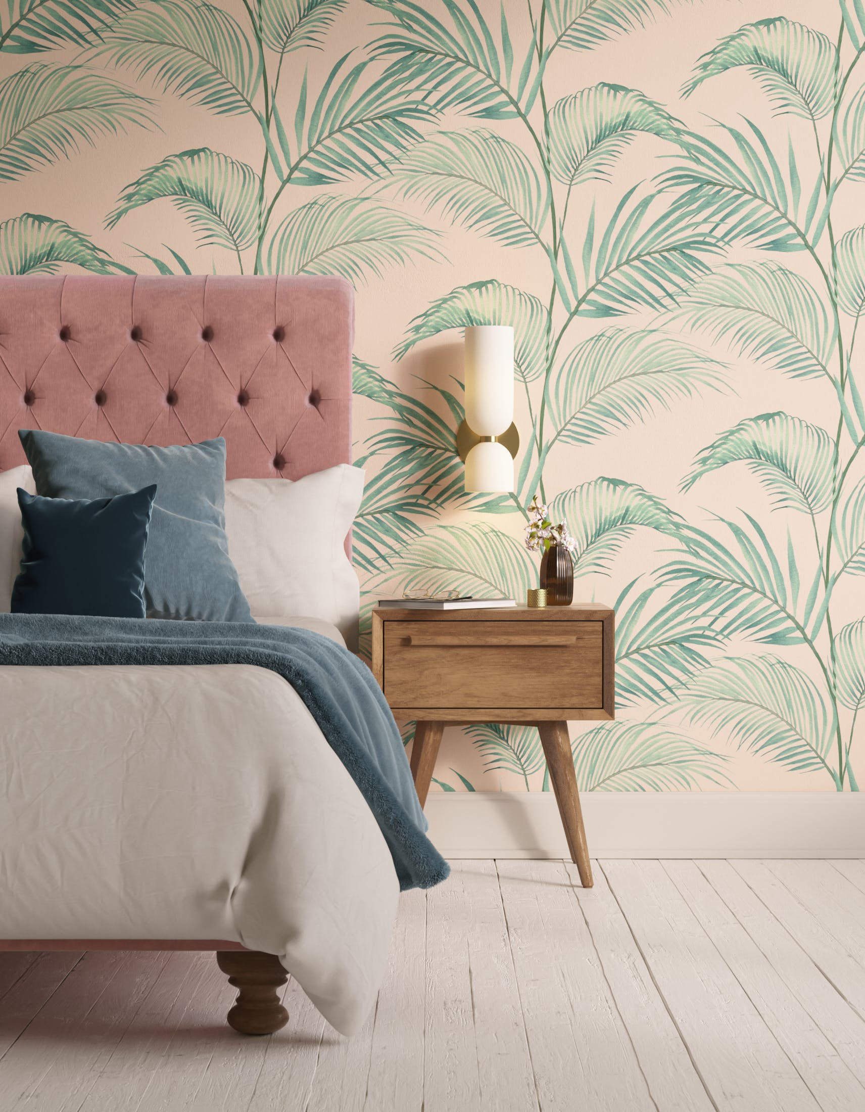 Bedroom decorated with Lick x Belinda Bayley Jungle 02 pink and green palm leaf wallpaper