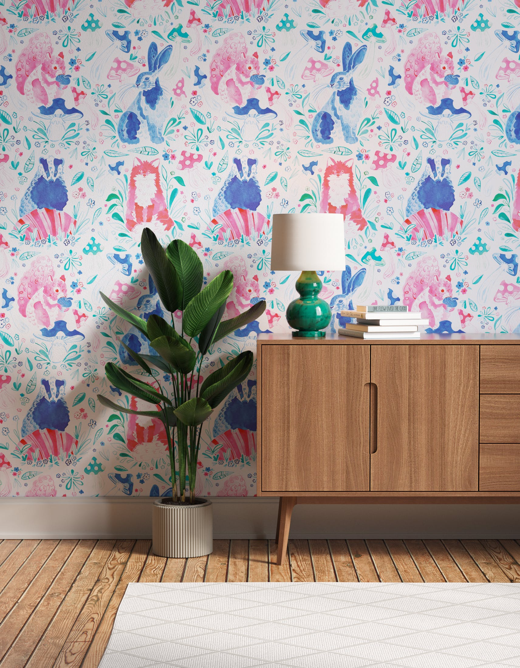 Hallway decorated with Lick x Franki Barber Woodland Animals 01 pink and blue children's wallpaper