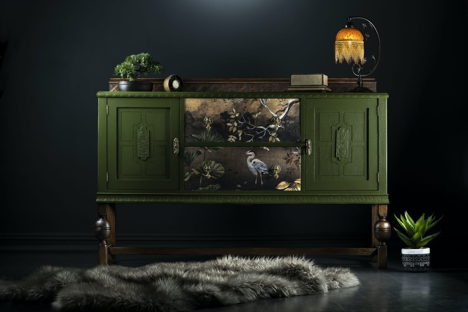 Upcycled dark forest green sideboard painted with Lick Green 05 paint