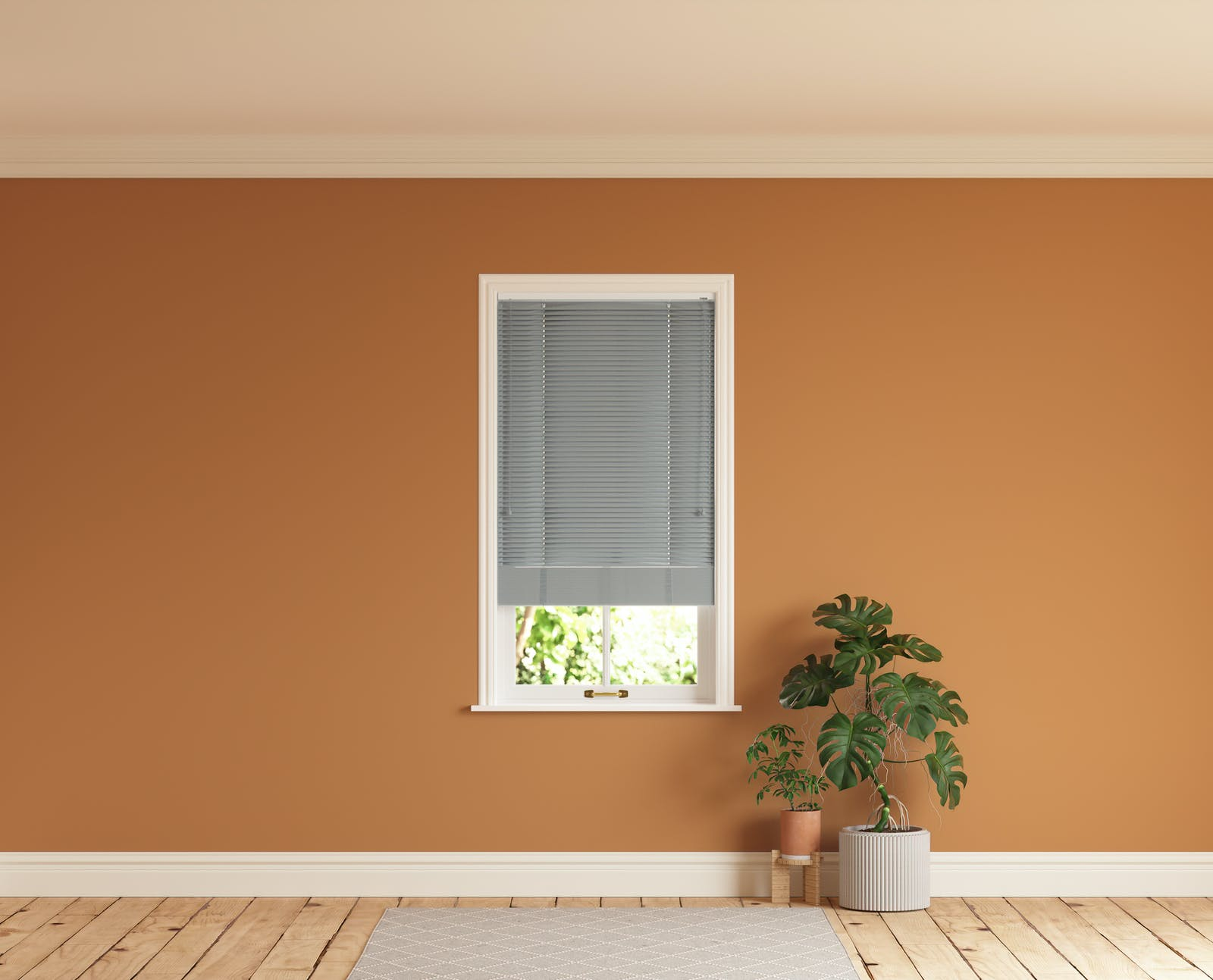 Room with walls painted in Lick Orange 02 and Grey 06 Venetian fine grain blinds