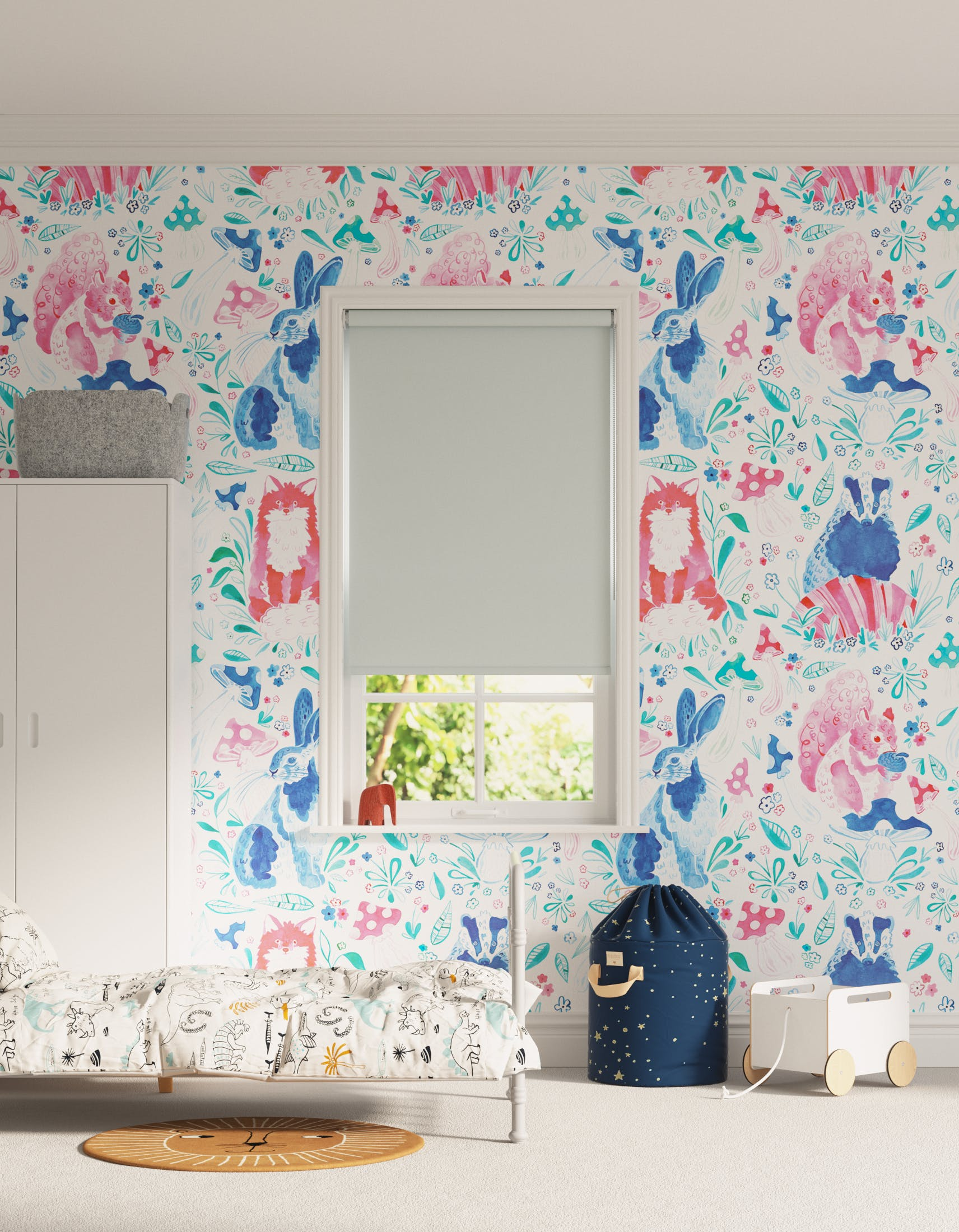 Children's bedroom decorated with Lick x Franki Barber Woodland Animals 01 pink and blue children's wallpaper