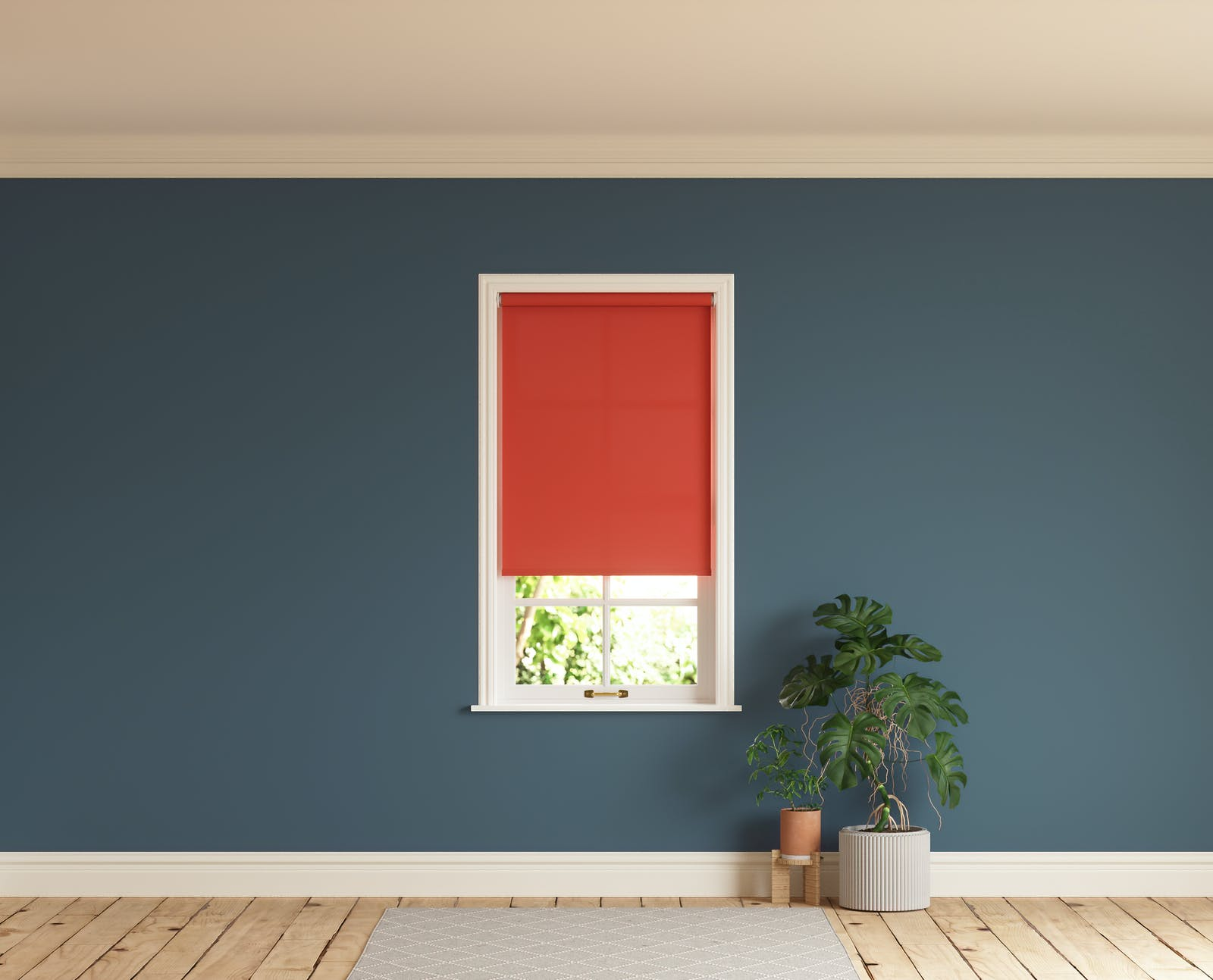 Room with walls painted in Lick Blue 07 and Red 02 roller blinds