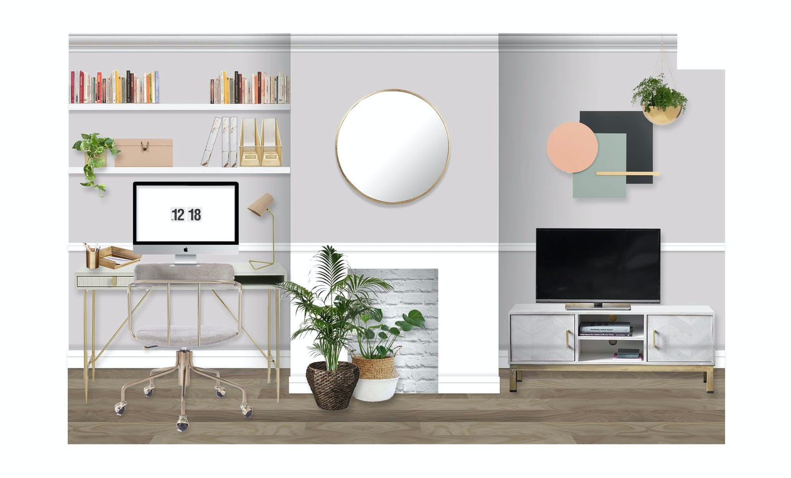 Office render with modern furniture, grey walls and house plants