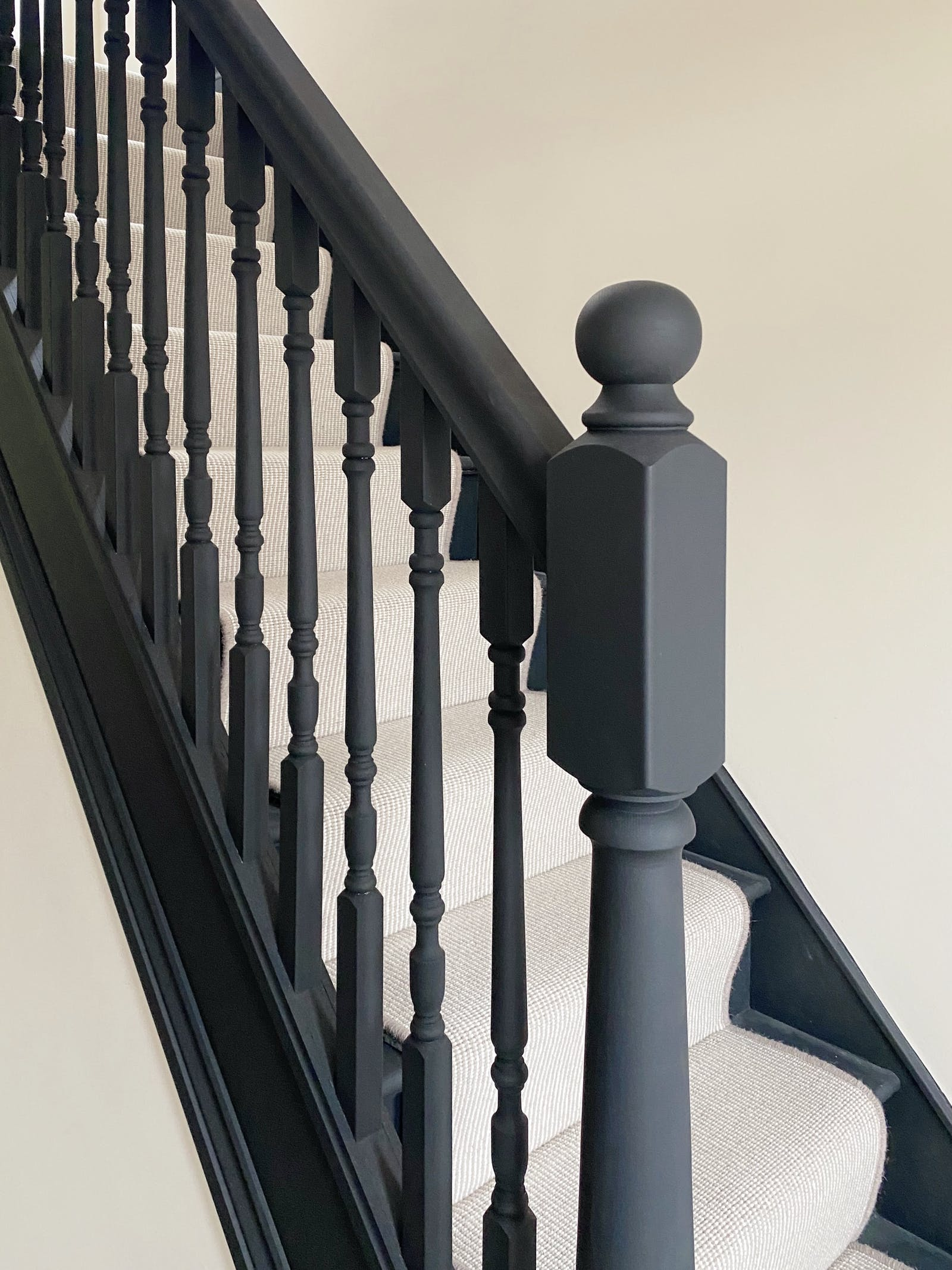 Stair rail painted in Lick Matt Black 02