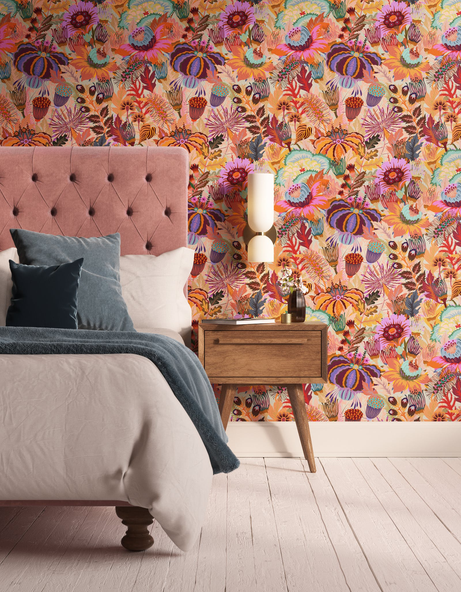 Bedroom decorated with Lick Mars Meadow 02, an orange floral wallpaper