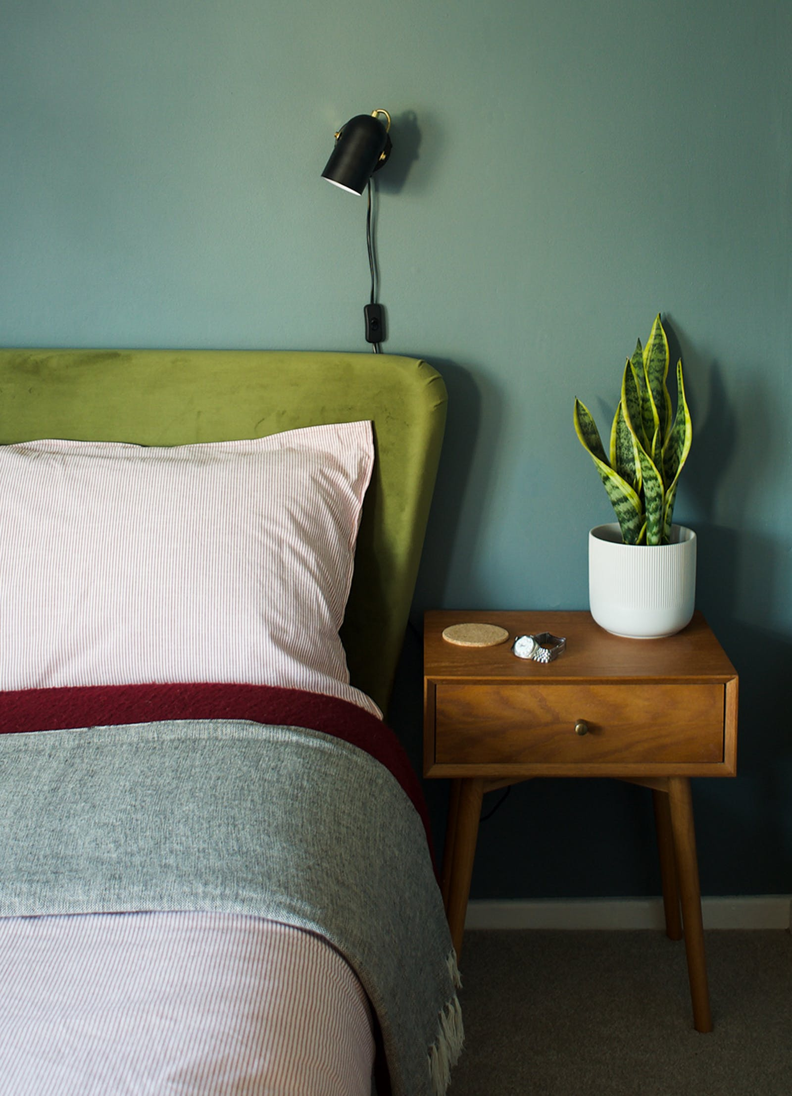 Close up of bed with green plant, Teal 02 walls and a green headboard