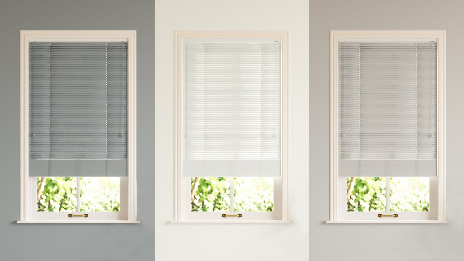 A collage of Lick Venetian blinds in a row in the colours slate grey, white and a soft warm grey