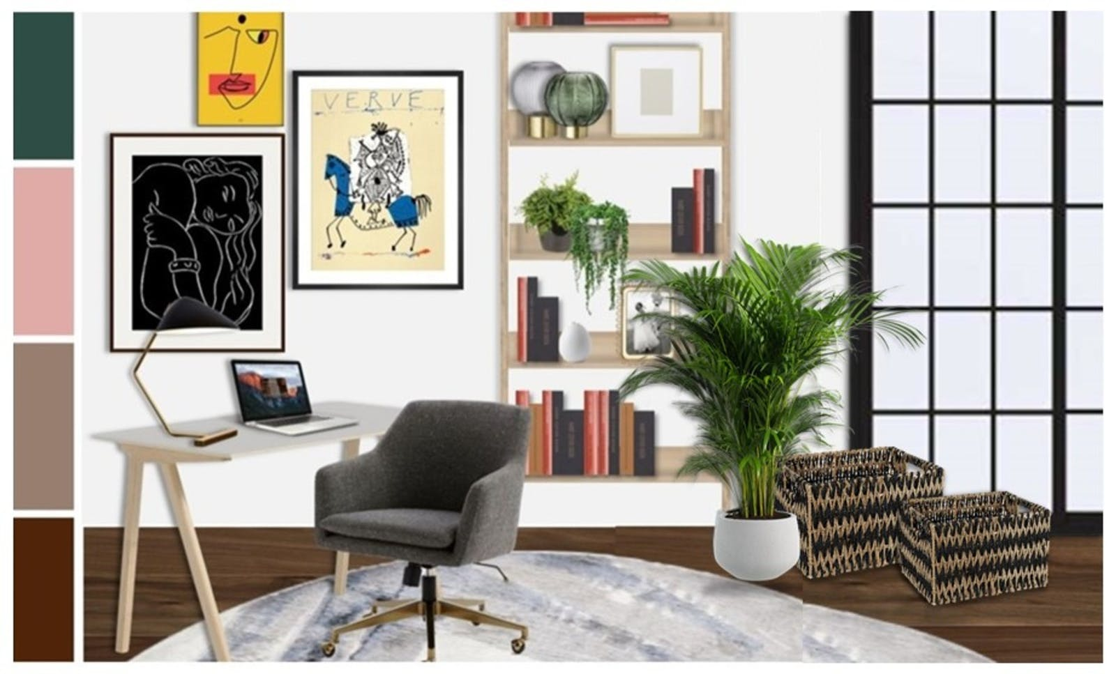 Office render with vibrant colours, a gallery wall, a large house plant and a filled bookcase