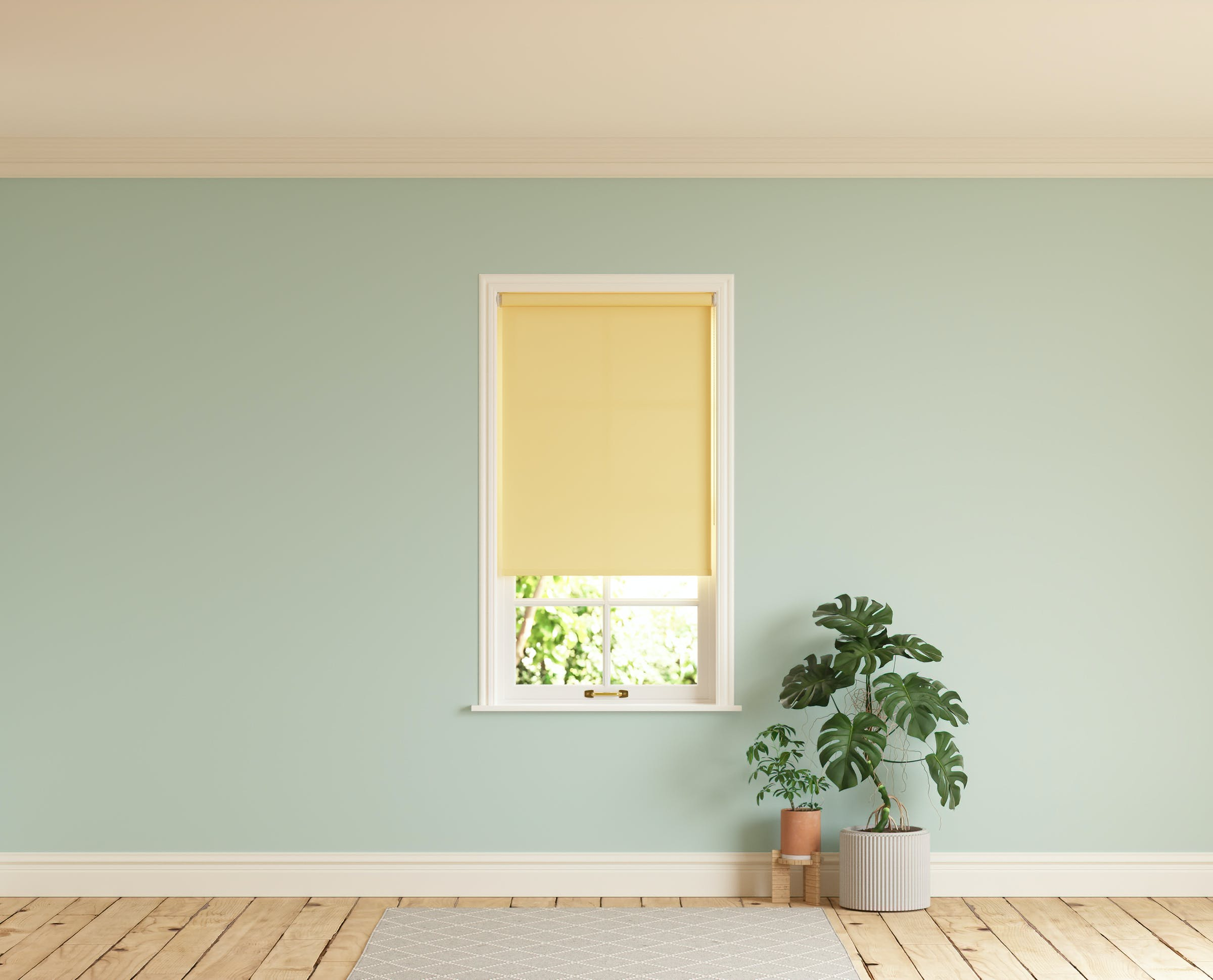 Room with walls painted in Lick Blue 03 and Yellow 01 roller blinds