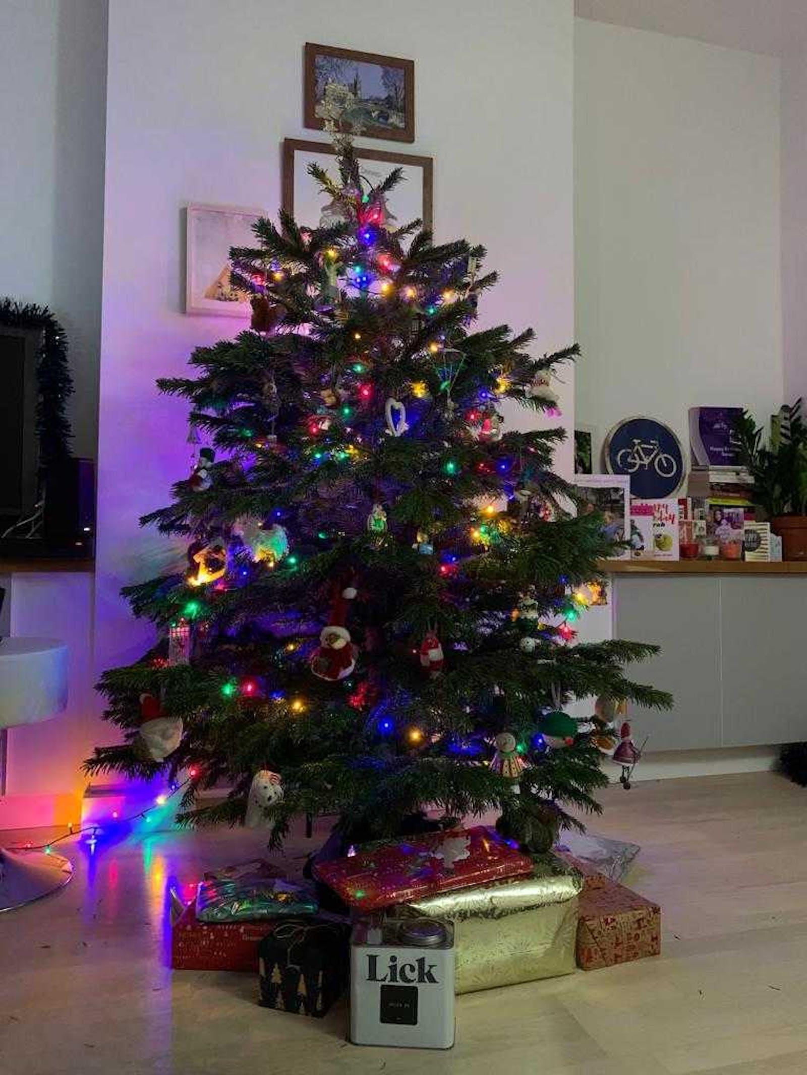 Christmas tree with multi-coloured fairy lights