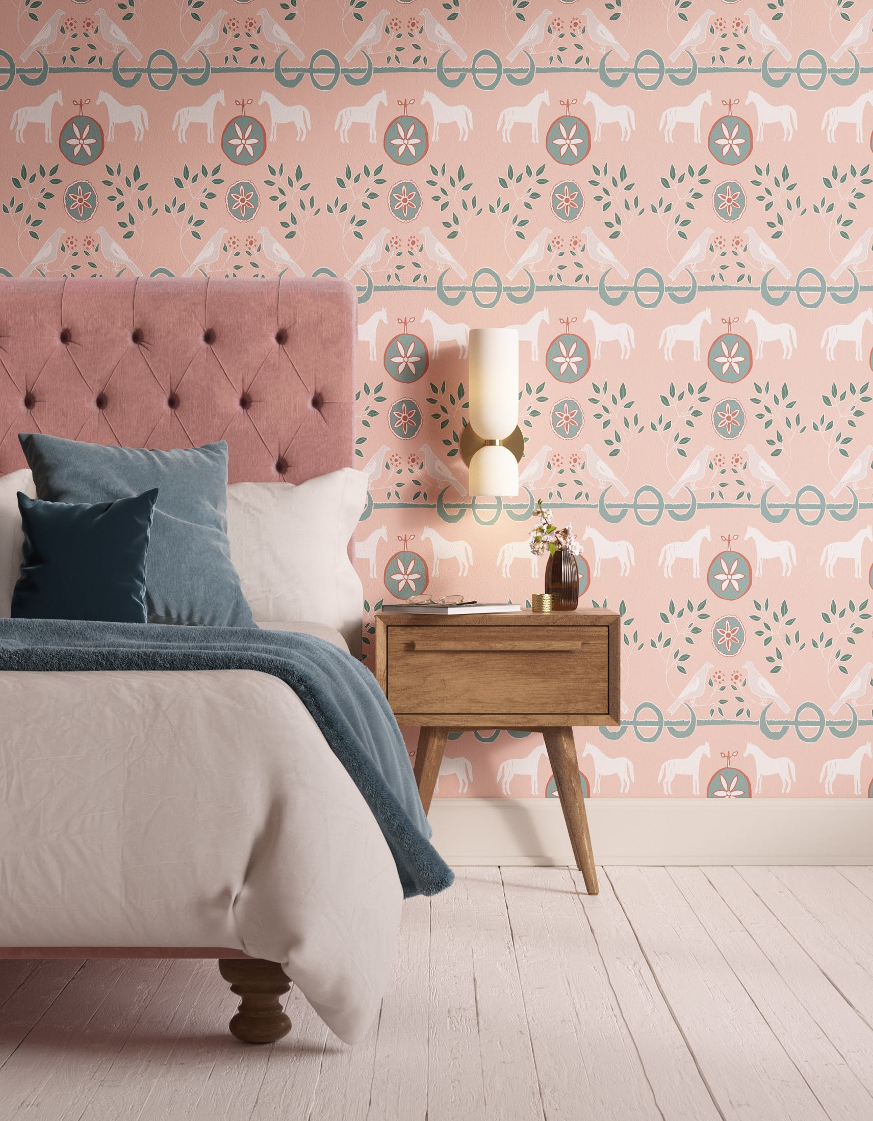Bedroom decorated with Lick x Annika Reed Dove 01 kid's green dove wallpaper