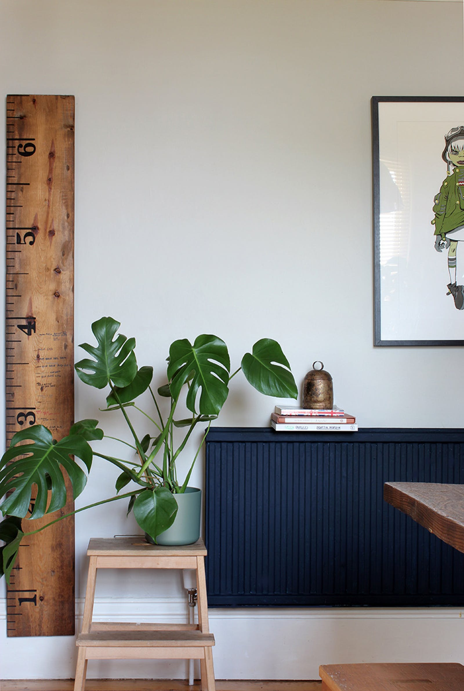Dining area with cheese plant and a navy blue painted radiator