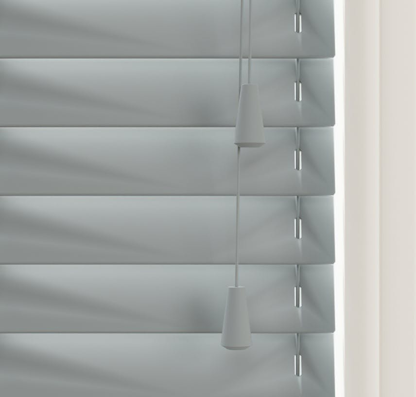 Close up view of Lick Grey 06 Venetian blinds