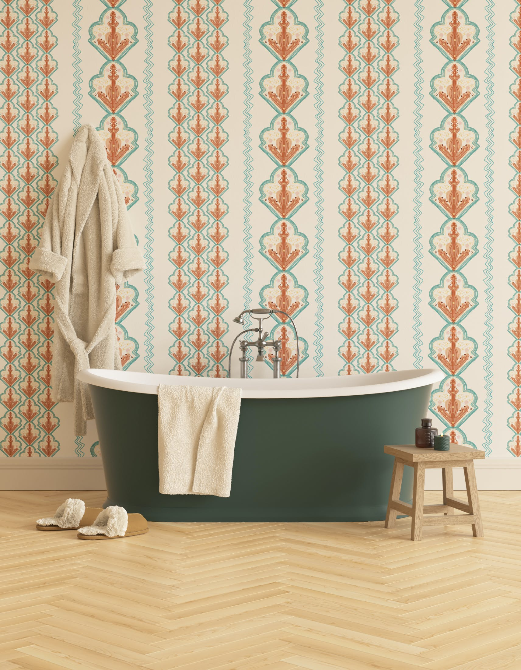 Bathroom decorated with Lick x Lottie McDowell Travelling Tiles 02 orange patterned mosaic wallpaper