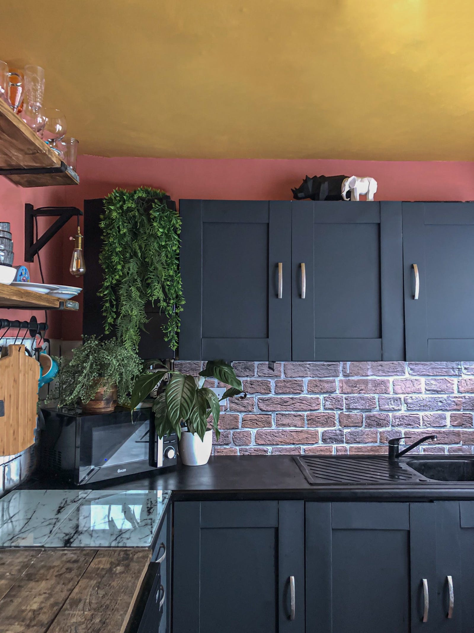 Kitchen painted in Black 01, Yellow 02 and Red 03