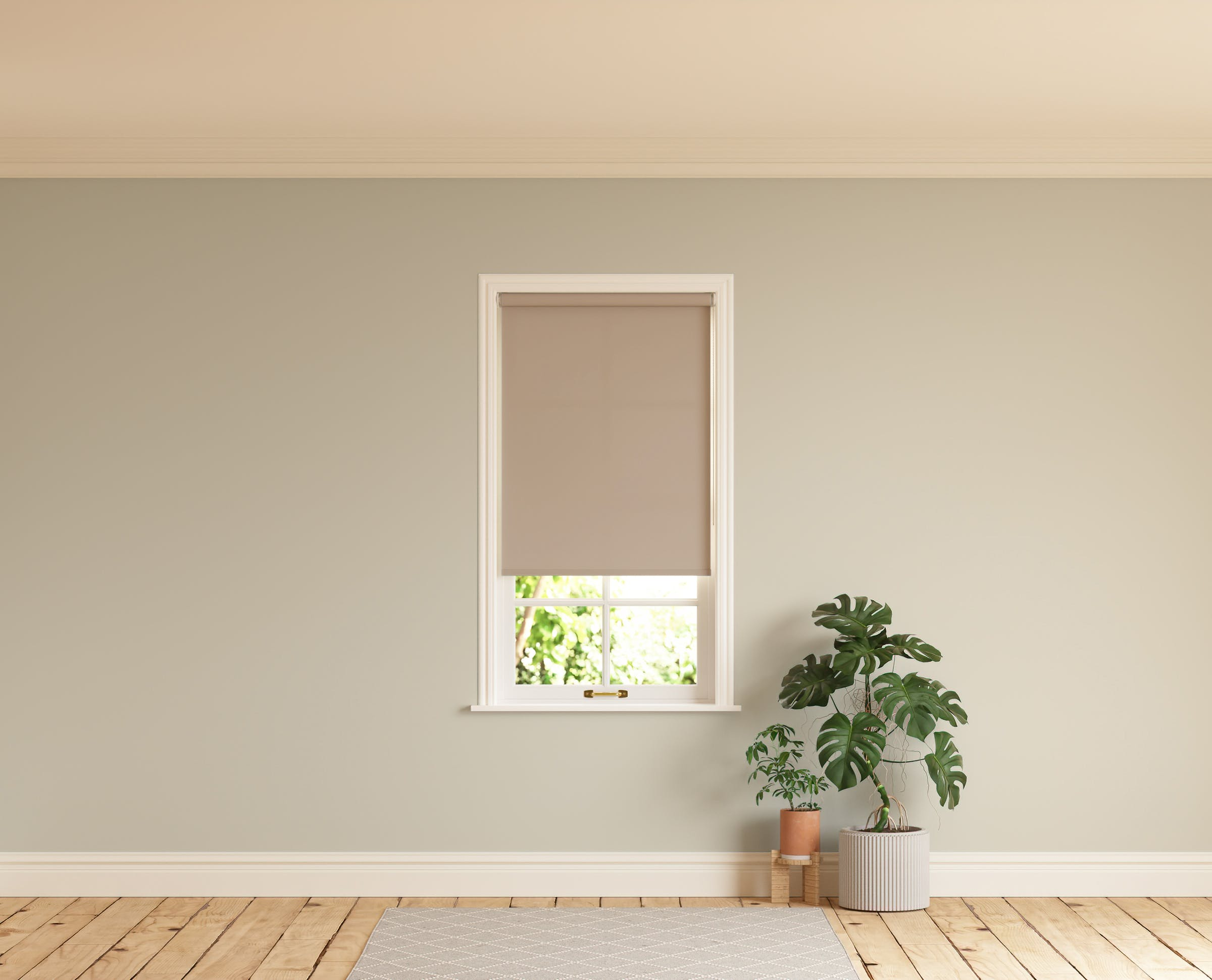 Room with walls painted in Lick Greige 01 and Beige 02 roller blinds