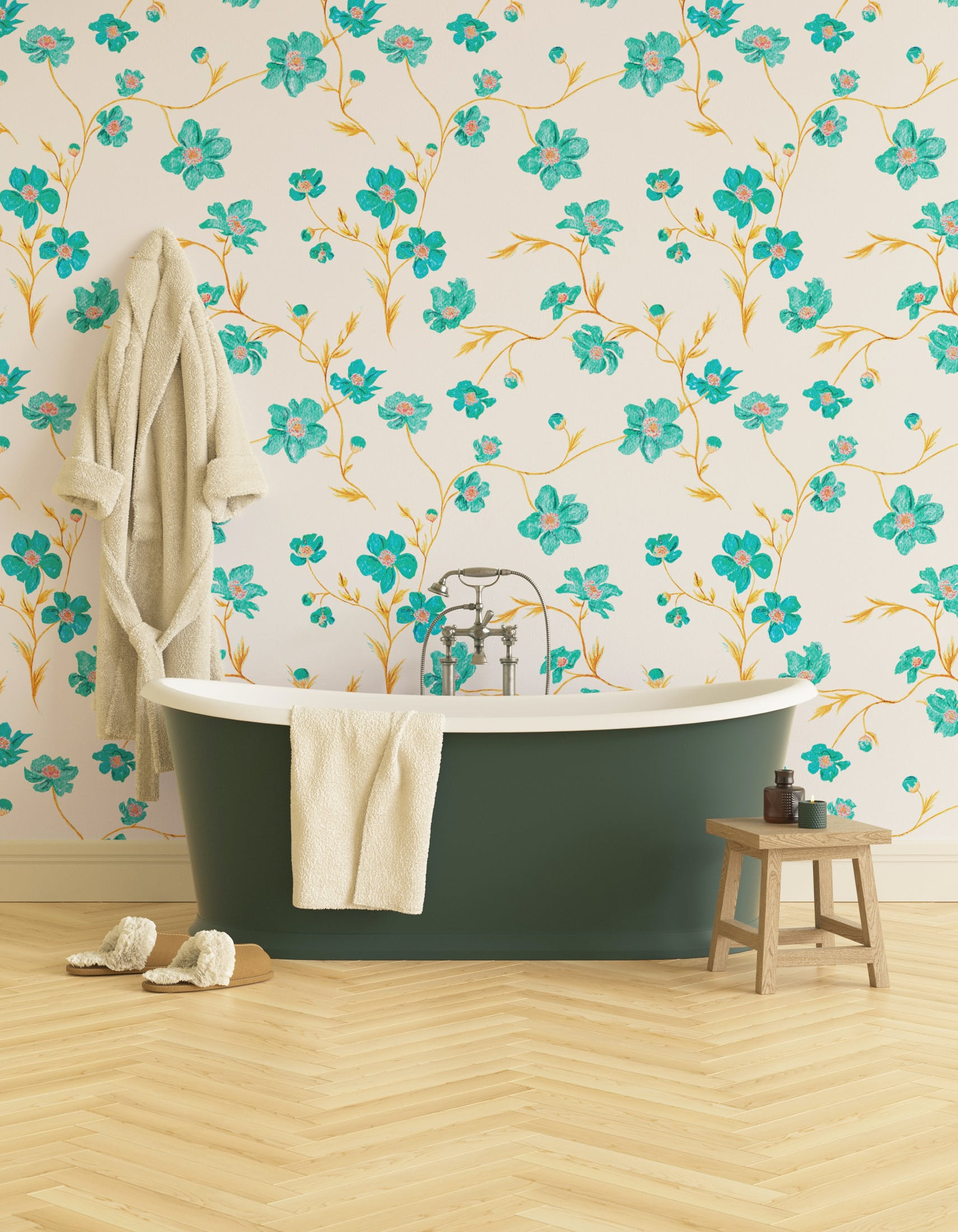 Bathroom decorated with Lick x Jenna Hewitt Anemone 01 turquoise floral wallpaper