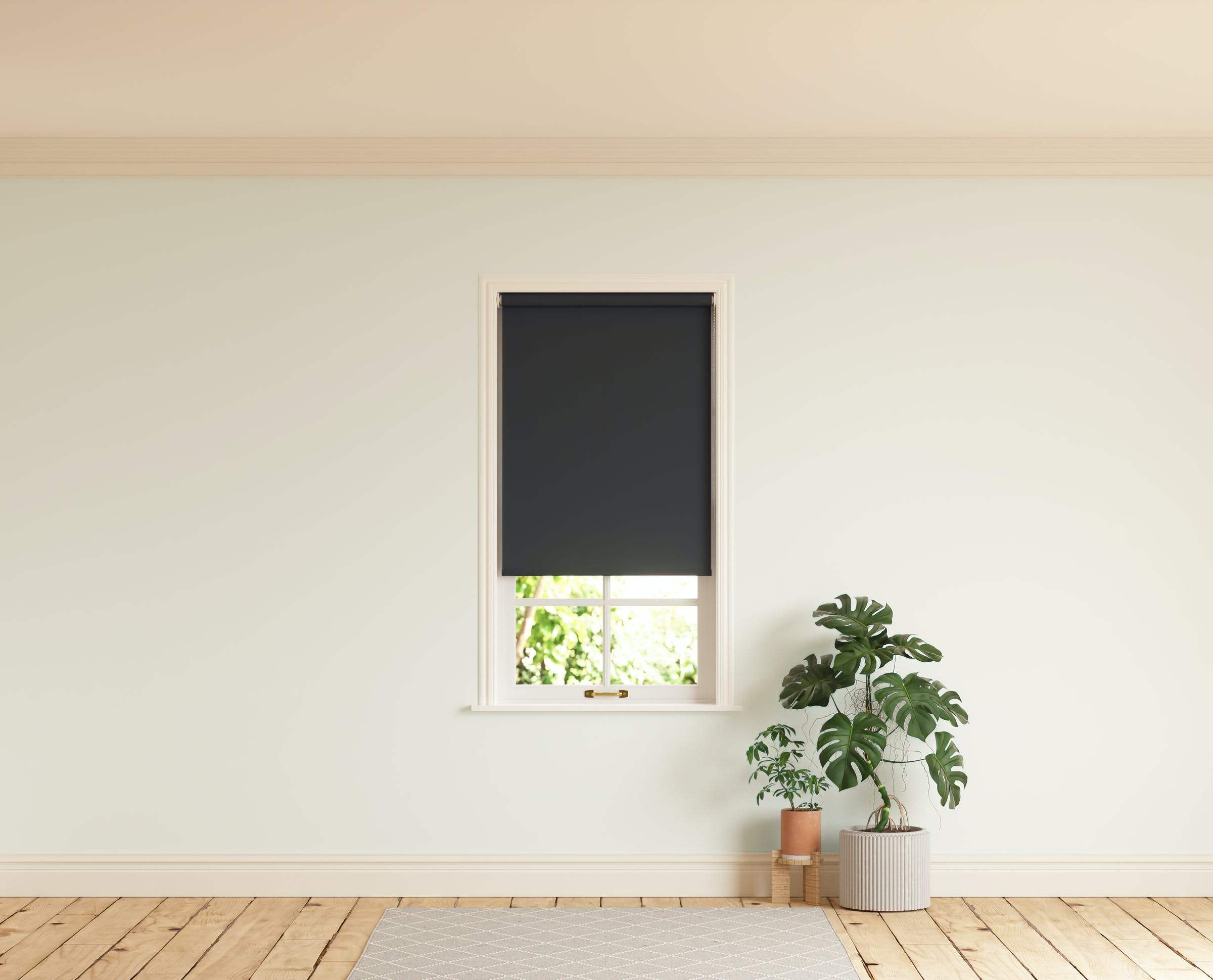 Room with walls painted in Lick White 02 and Black 02 roller blinds