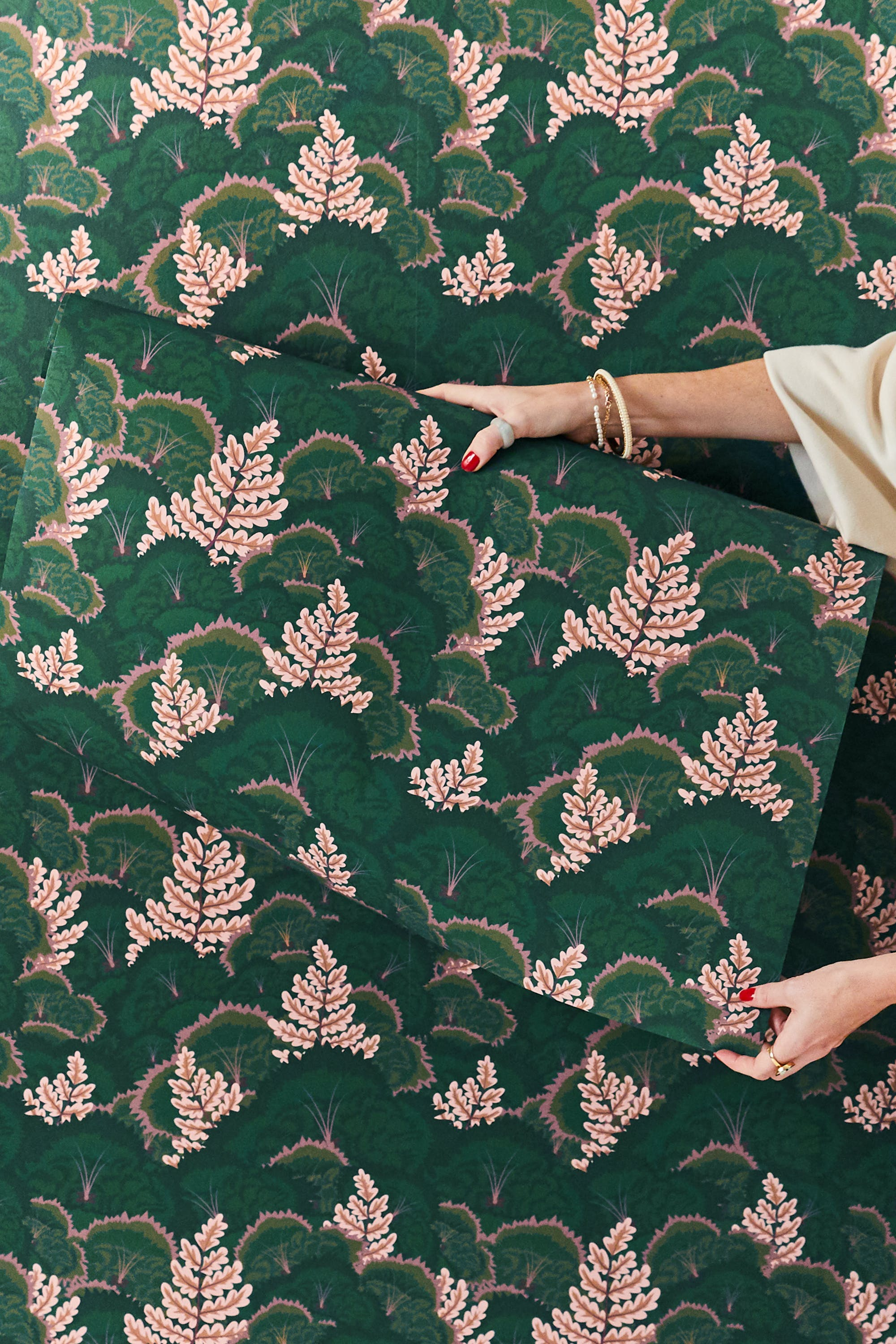 Woman holding Lick x Natasha Coverdale Electric Poppies 02 wallpaper