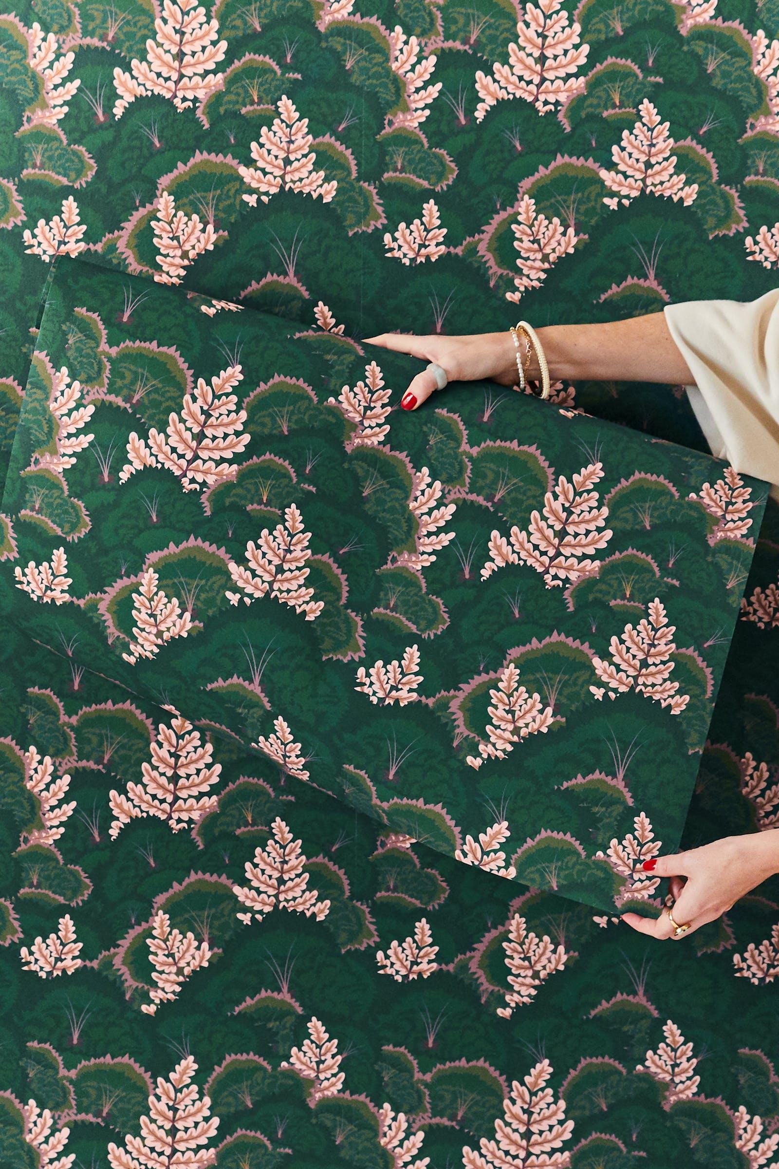 Woman holding Lick x Natasha Coverdale Electric Poppies 02 wallpaper