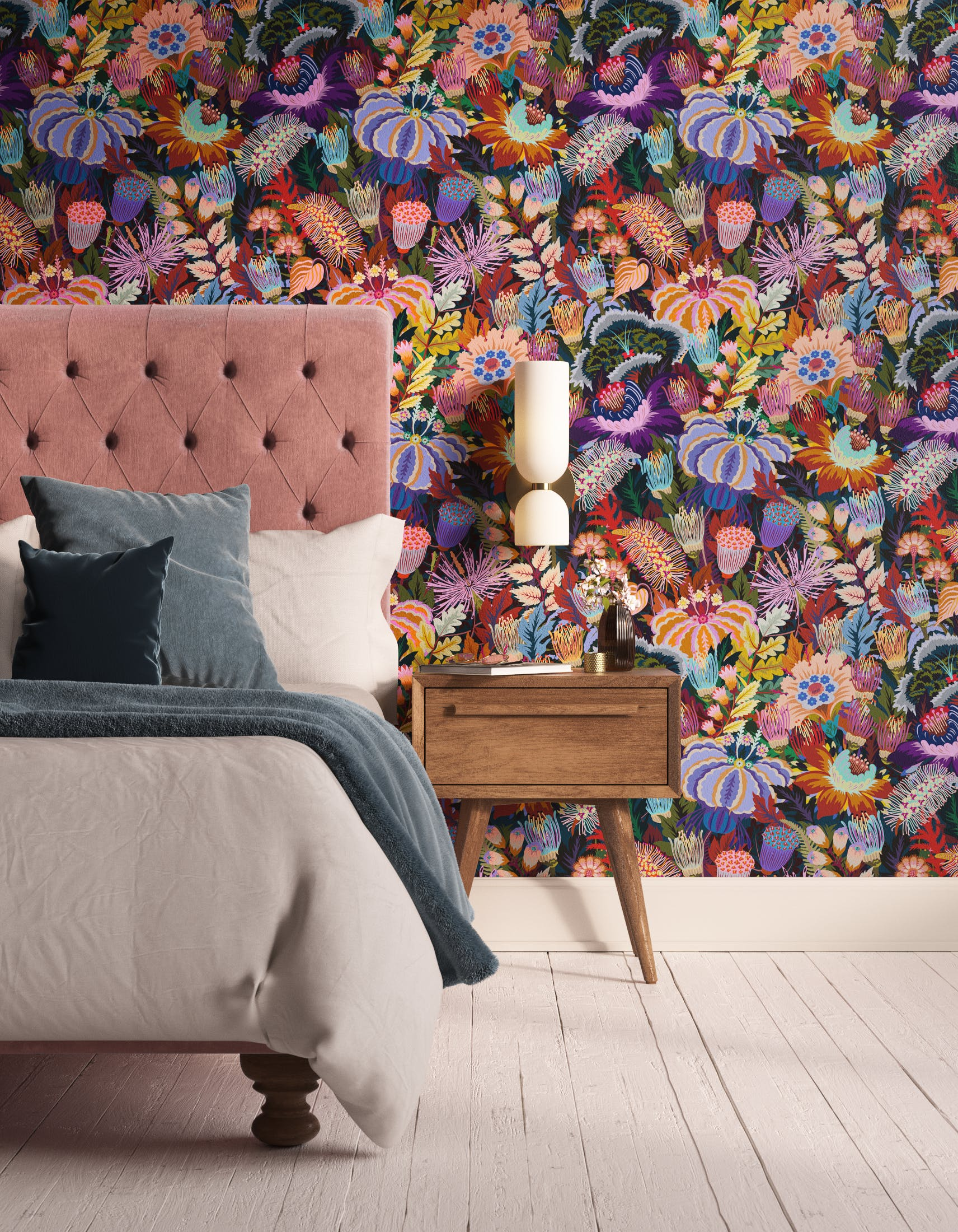 Bedroom decorated with Lick Mars Meadow 01, a dark green floral wallpaper