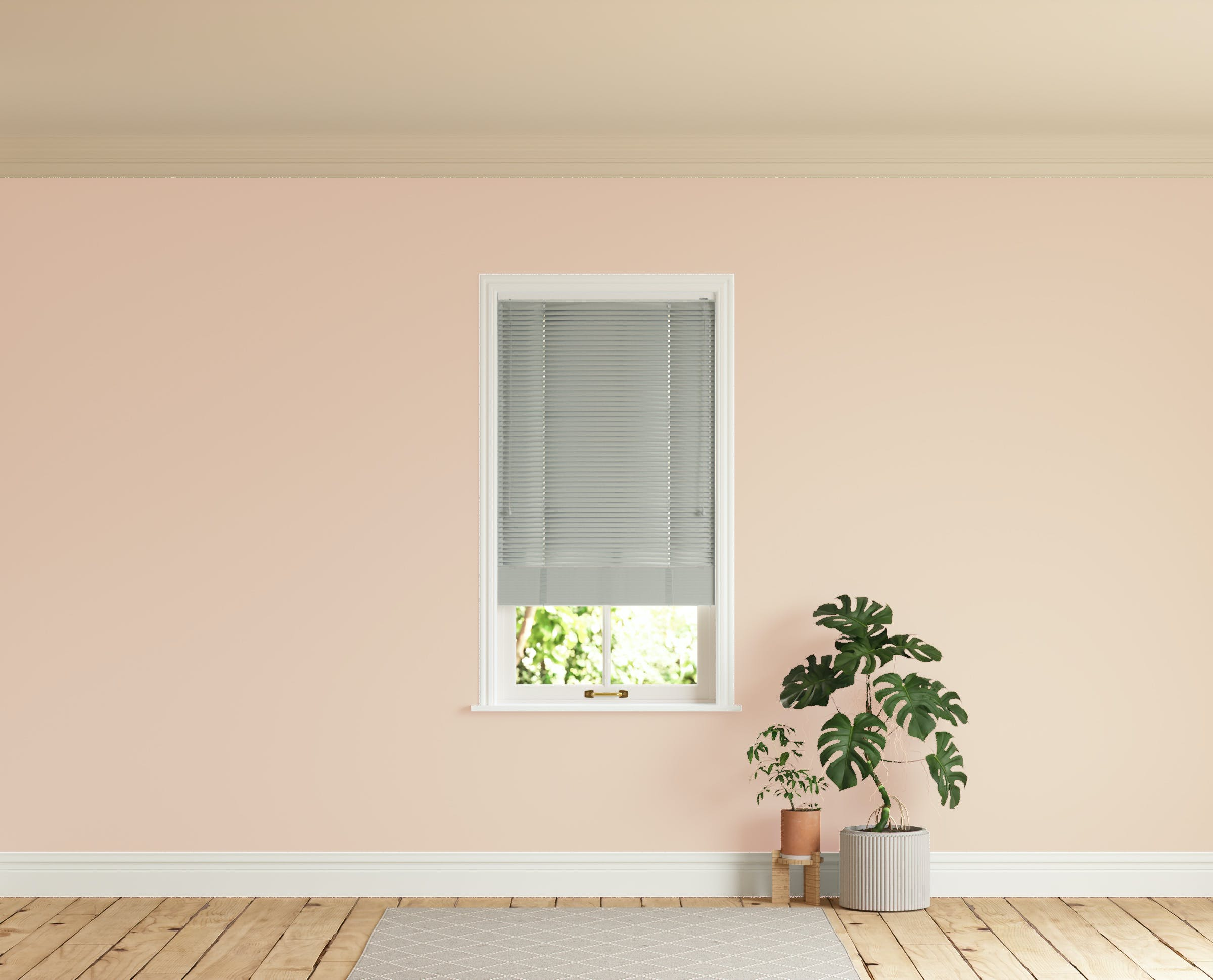 Room with walls painted in Lick Pink 02 and Grey 04 Venetian blinds