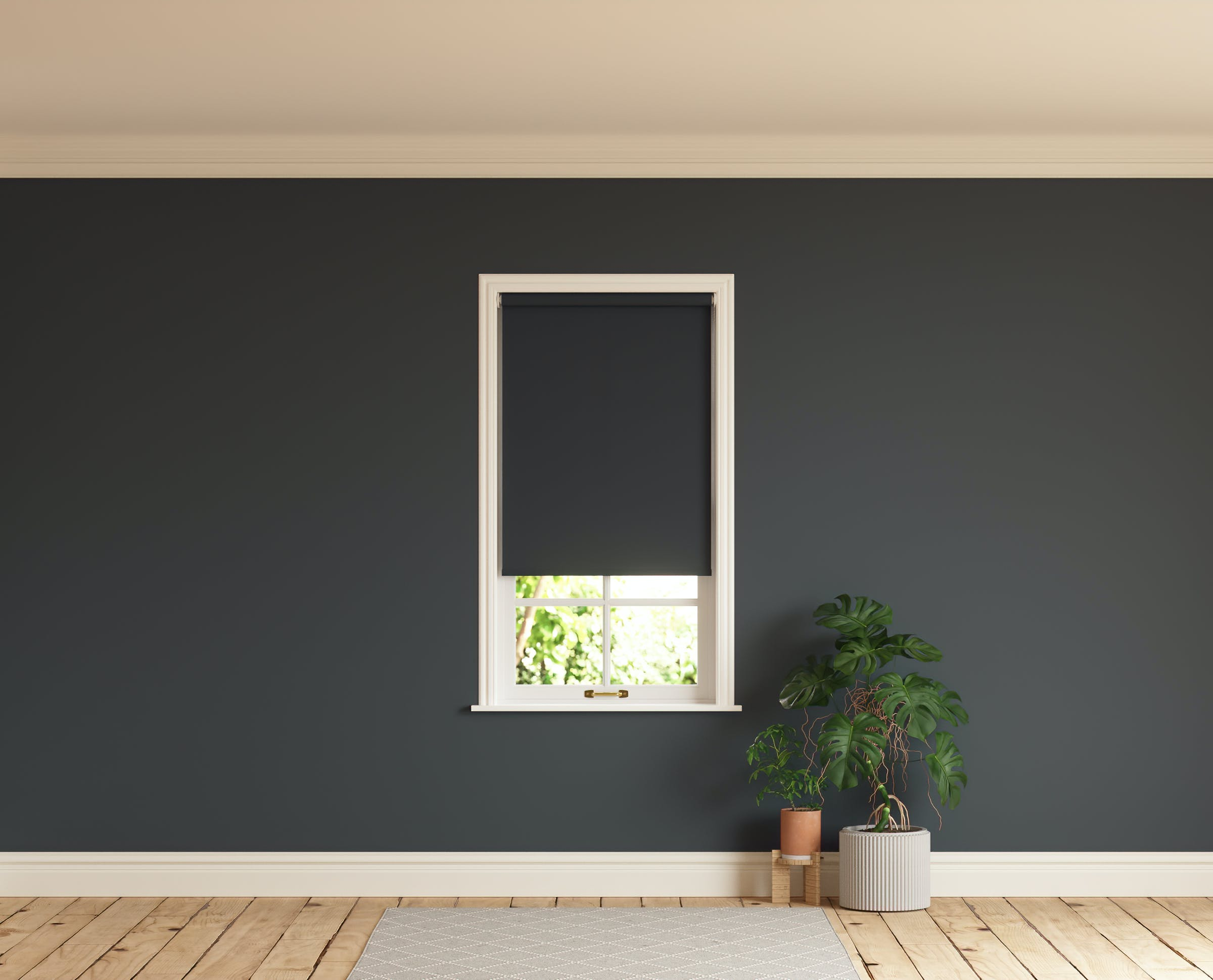 Room with walls painted in Lick Black 02 and Black 02 roller blinds