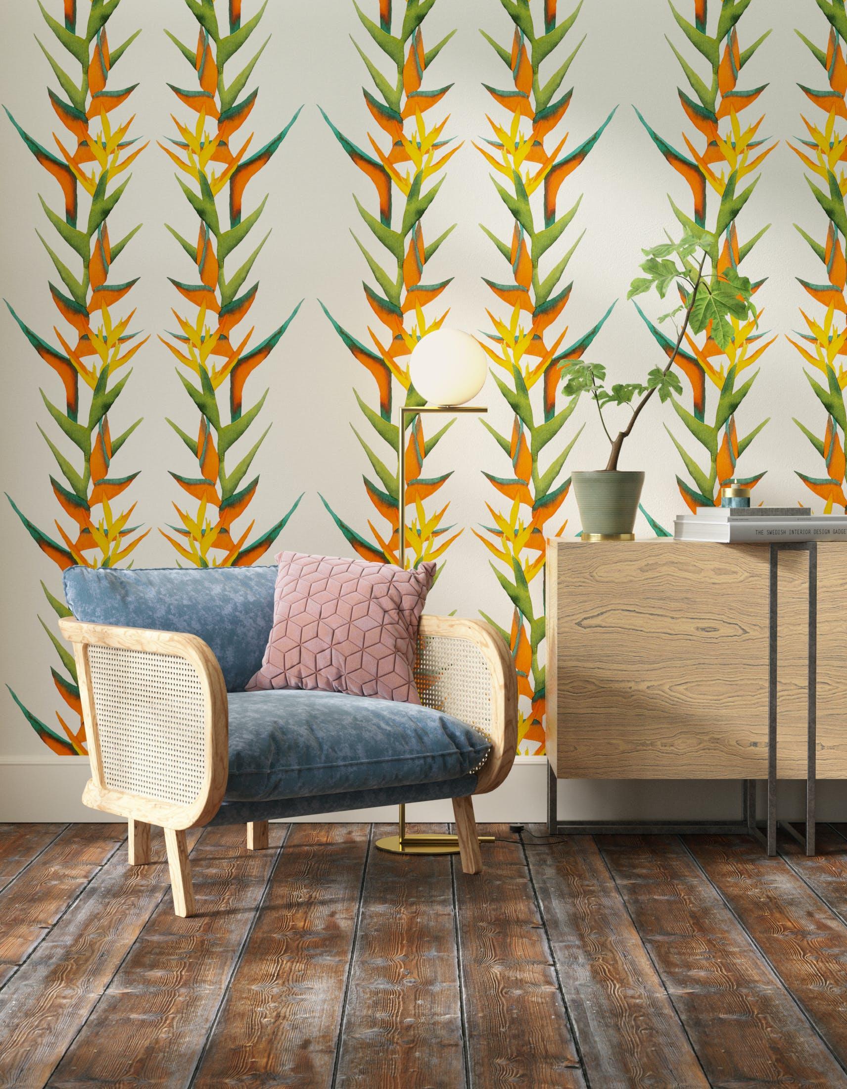 Living room decorated with Lick x Belinda Bayley Paradise Vine 01 orange exotic botanical wallpaper