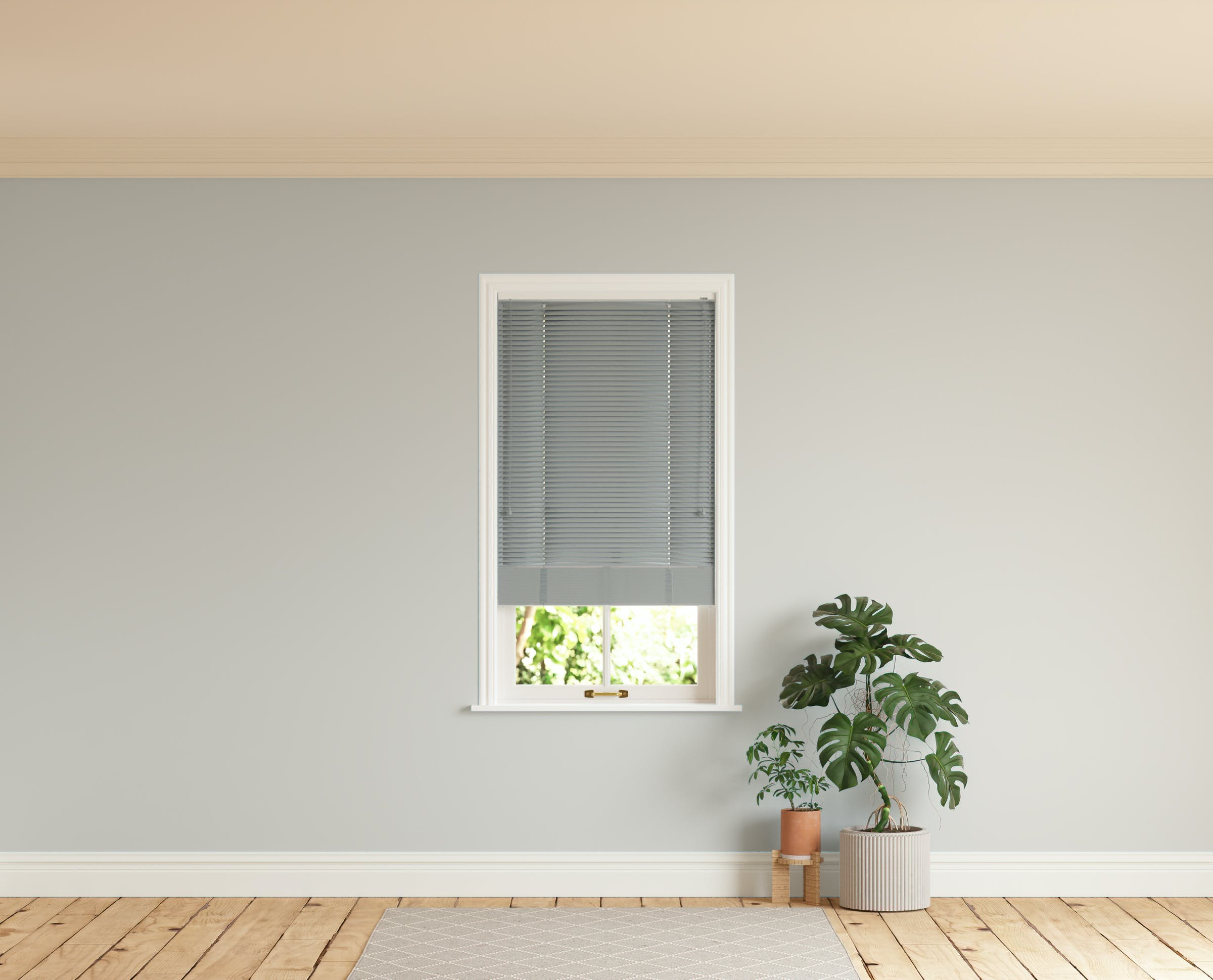 Room with walls painted in Lick Grey 03 and Grey 06 Venetian blinds