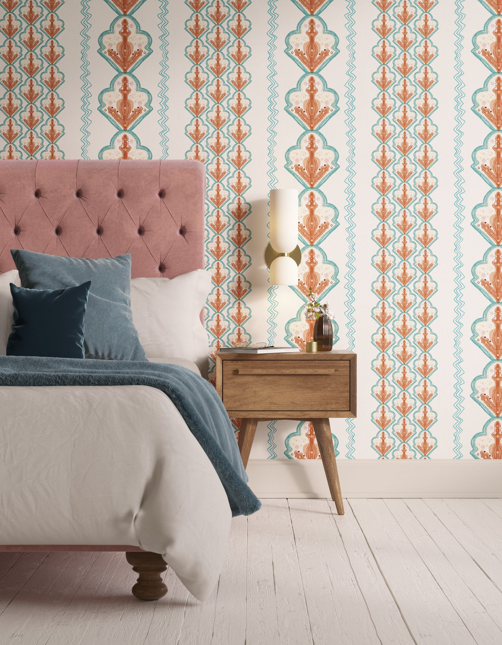 Bedroom decorated with Lick x Lottie McDowell Travelling Tiles 02 orange patterned mosaic wallpaper