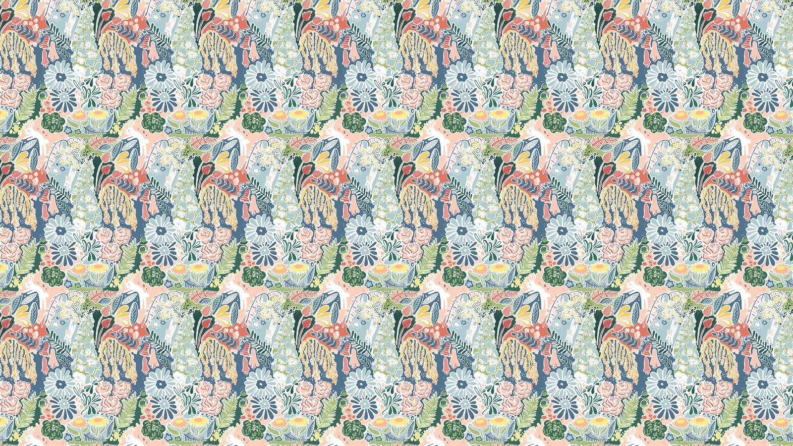 Lick x Franki Barber Enchanted Forest 01 kid's magical rabbit wallpaper