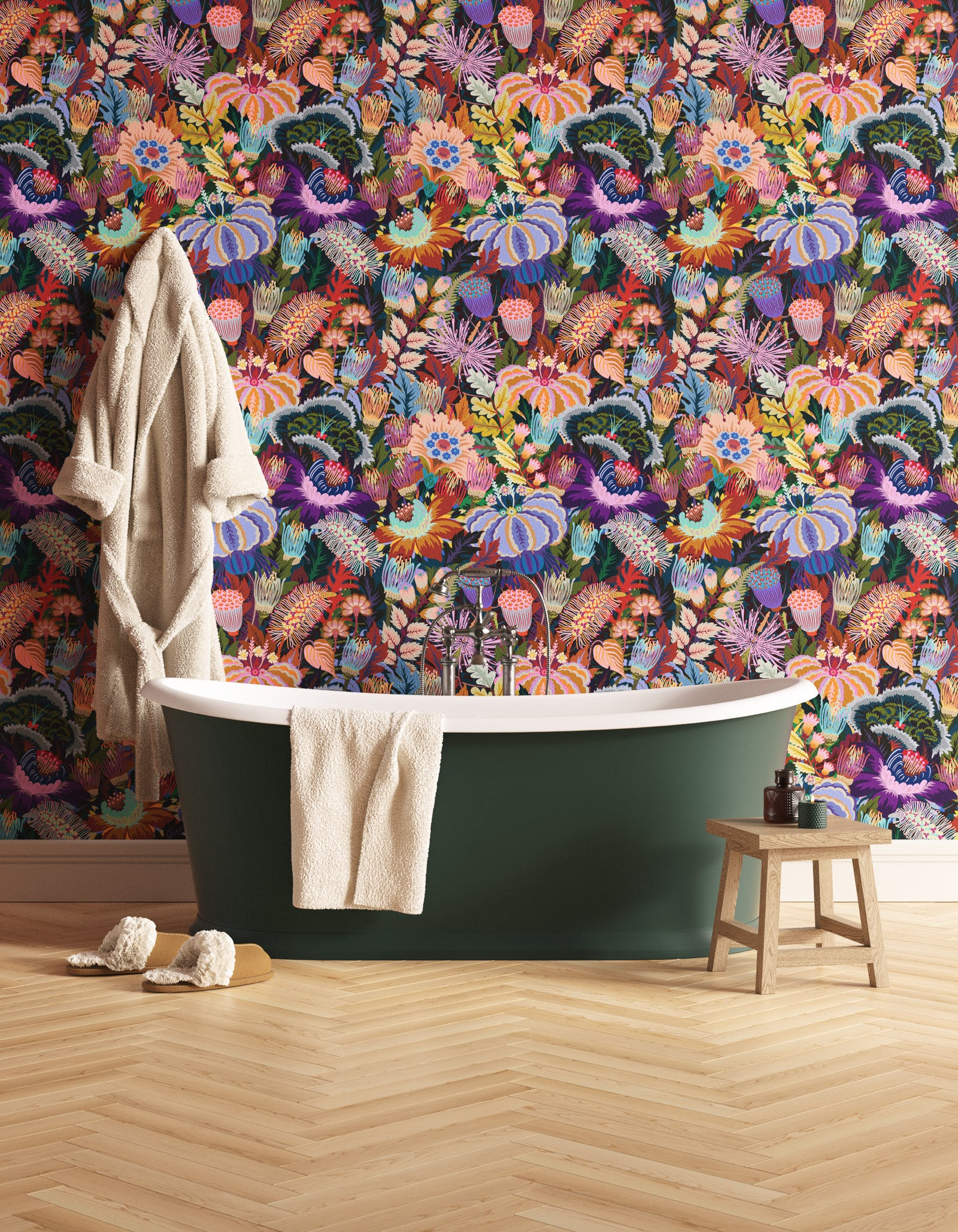 Bathroom decorated with Lick Mars Meadow 01, a green floral wallpaper