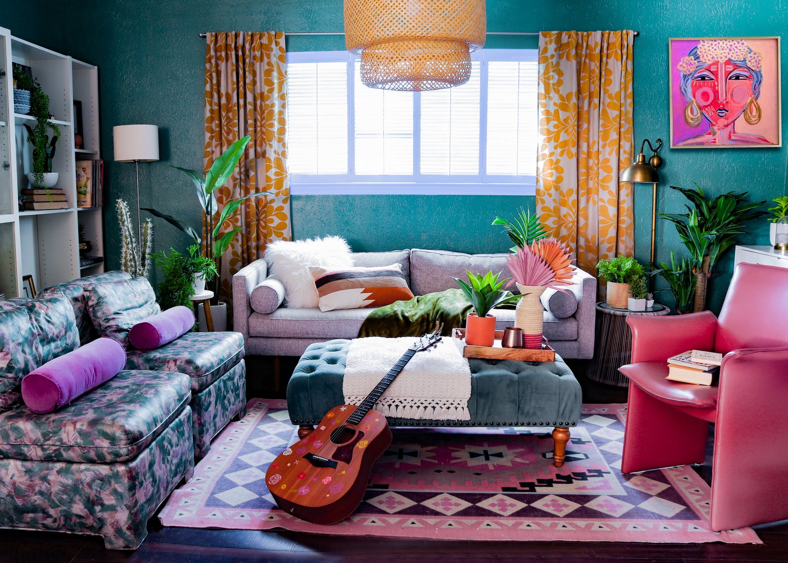 Image of vibrant living room with guitar and bohemian print rug