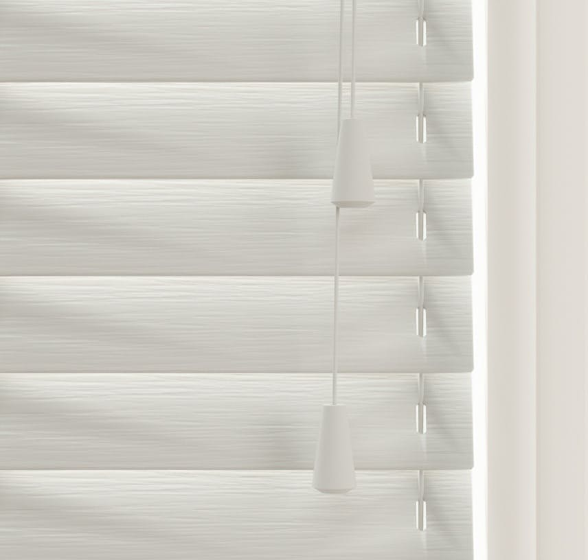 Close up view of Lick Grey 03 Venetian fine grain blinds
