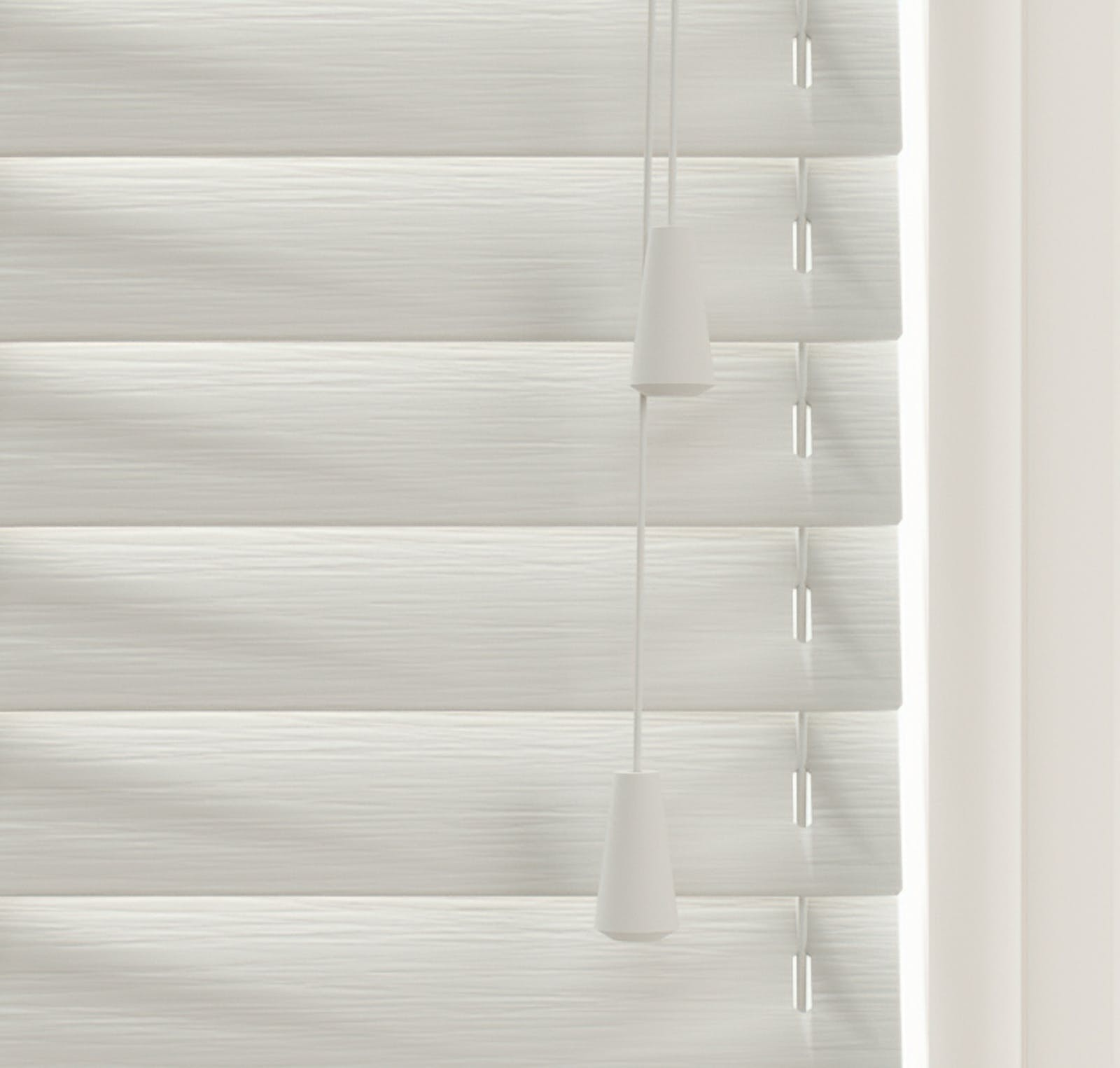 Close up view of Lick Grey 03 Venetian fine grain blinds
