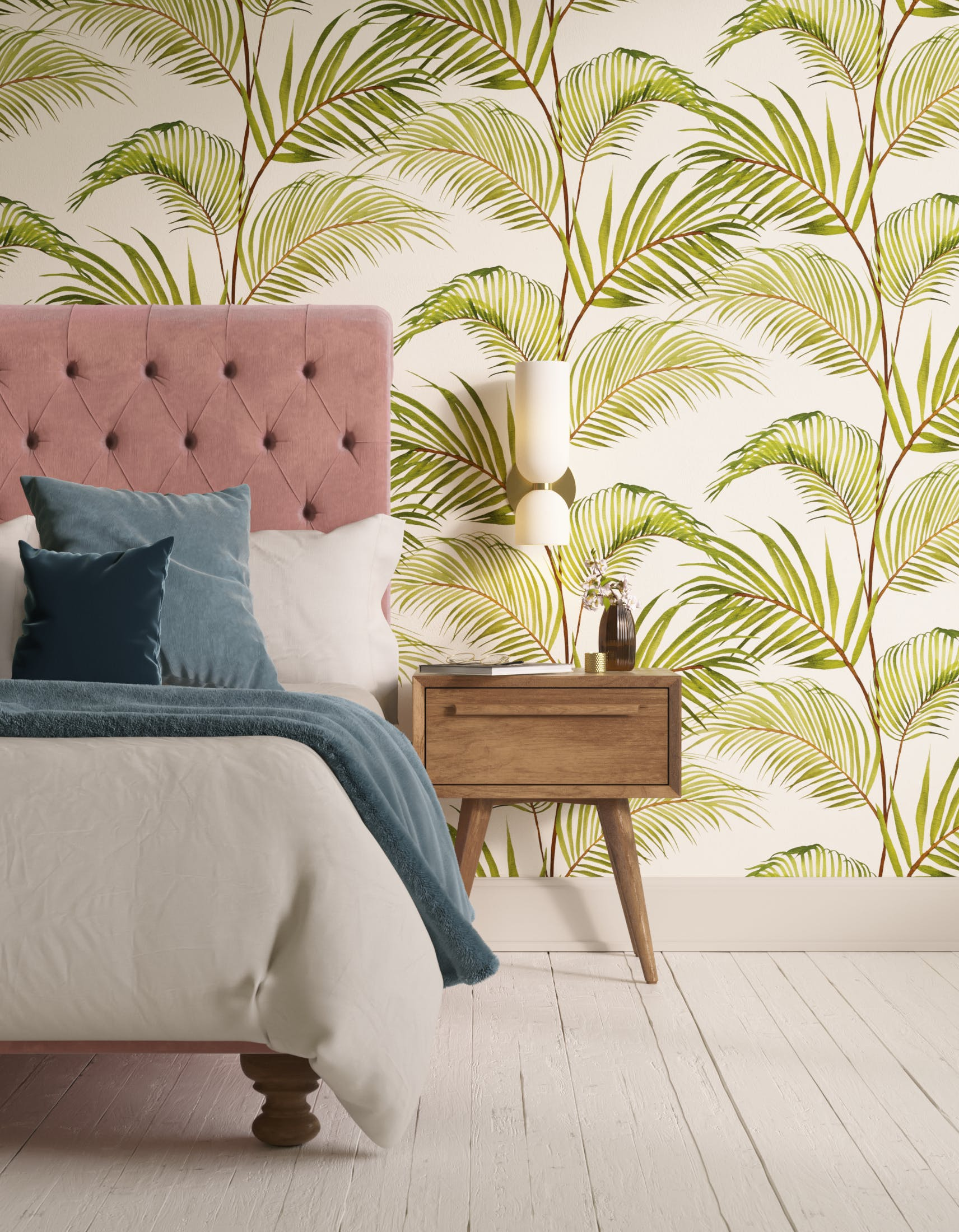 Bedroom decorated with Lick x Belinda Bayley Jungle 03 white and green palm leaf wallpaper