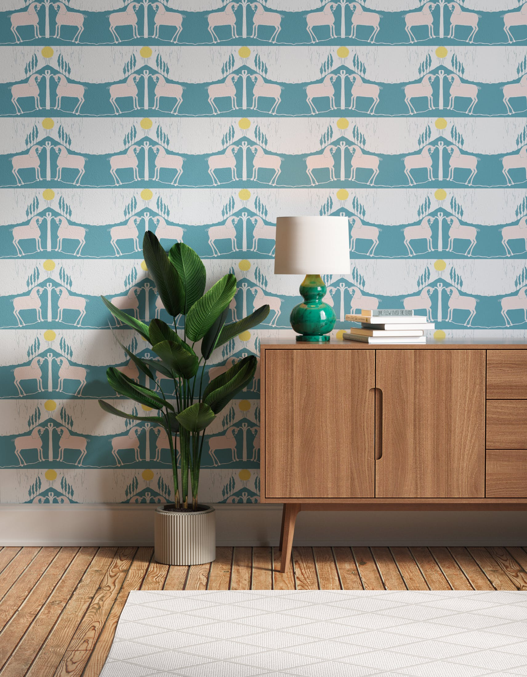 Hallway decorated with Lick x Annika Reed Western 01 white and mint green animal wallpaper