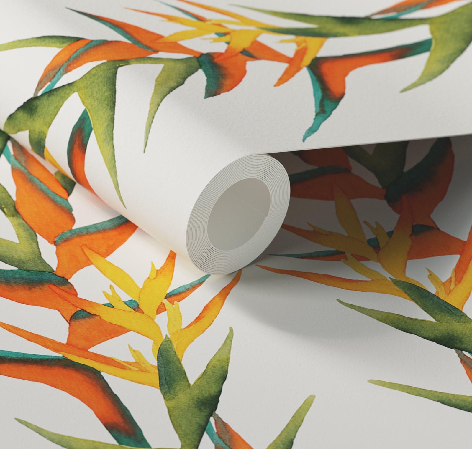 Close up of Lick x Belinda Bayley Paradise Vine 01 orange exotic botanical wallpaper
