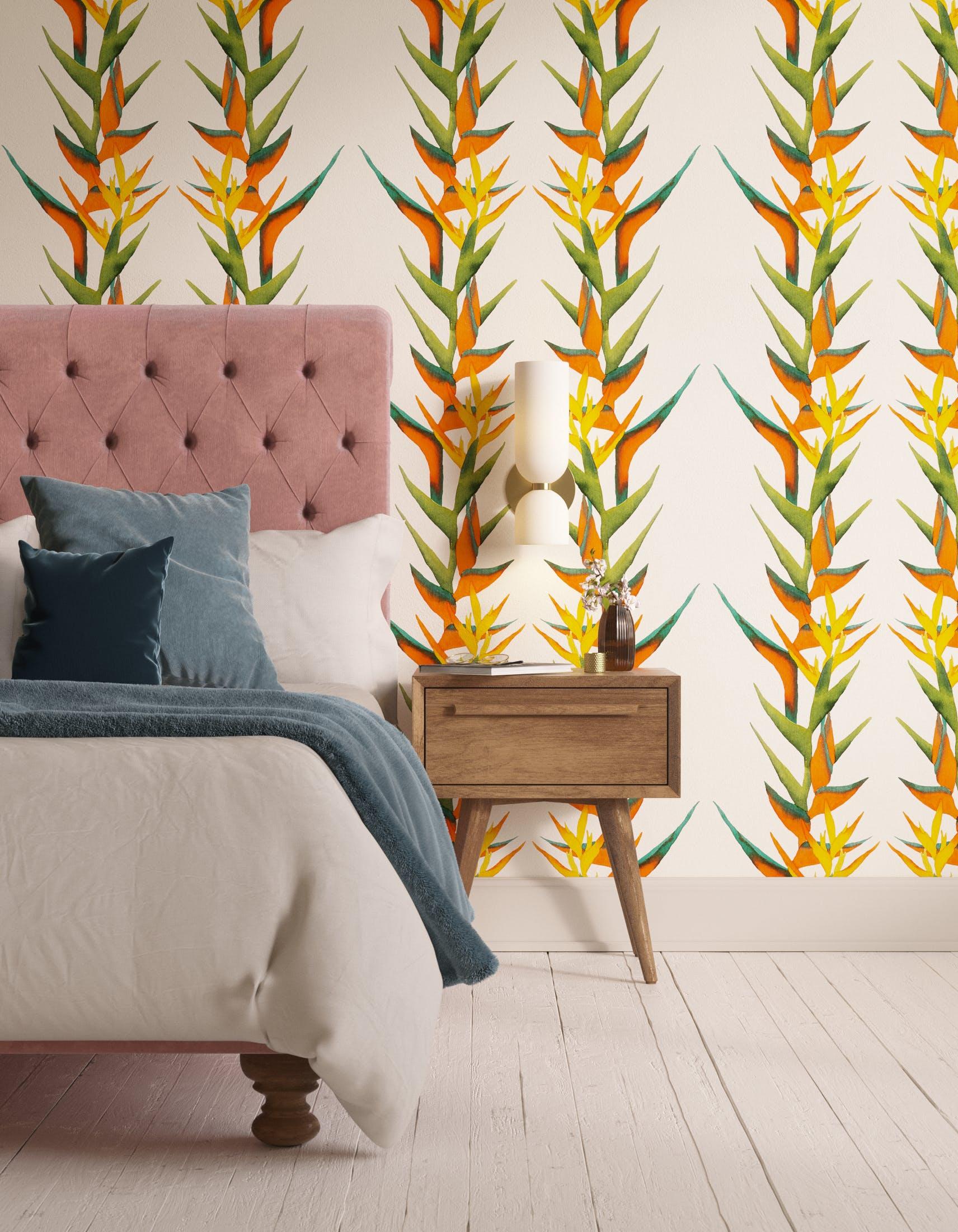 Bedroom decorated with Lick x Belinda Bayley Paradise Vine 01 orange exotic botanical wallpaper