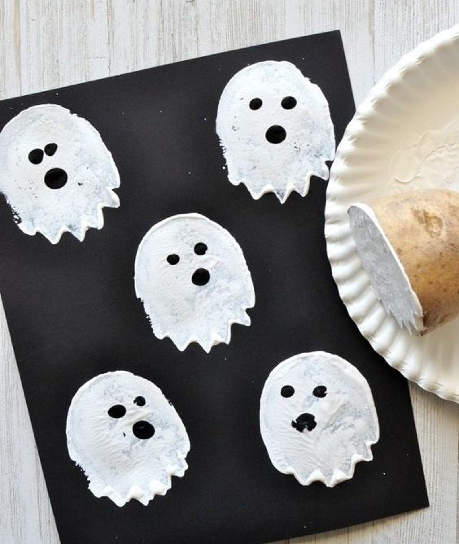 Potato stamps in ghost print