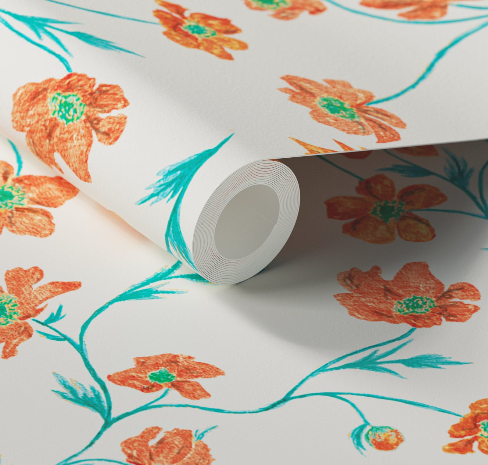 Close up of Lick x Jenna Hewitt Anemone 02 orange floral wallpaper