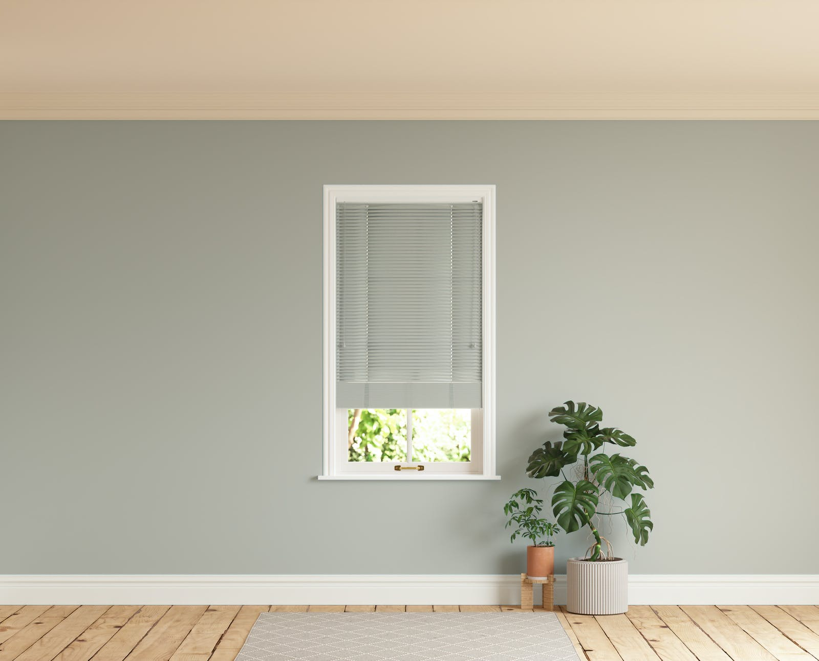 Room with walls painted in Lick Grey 04 and Grey 04 Venetian blinds