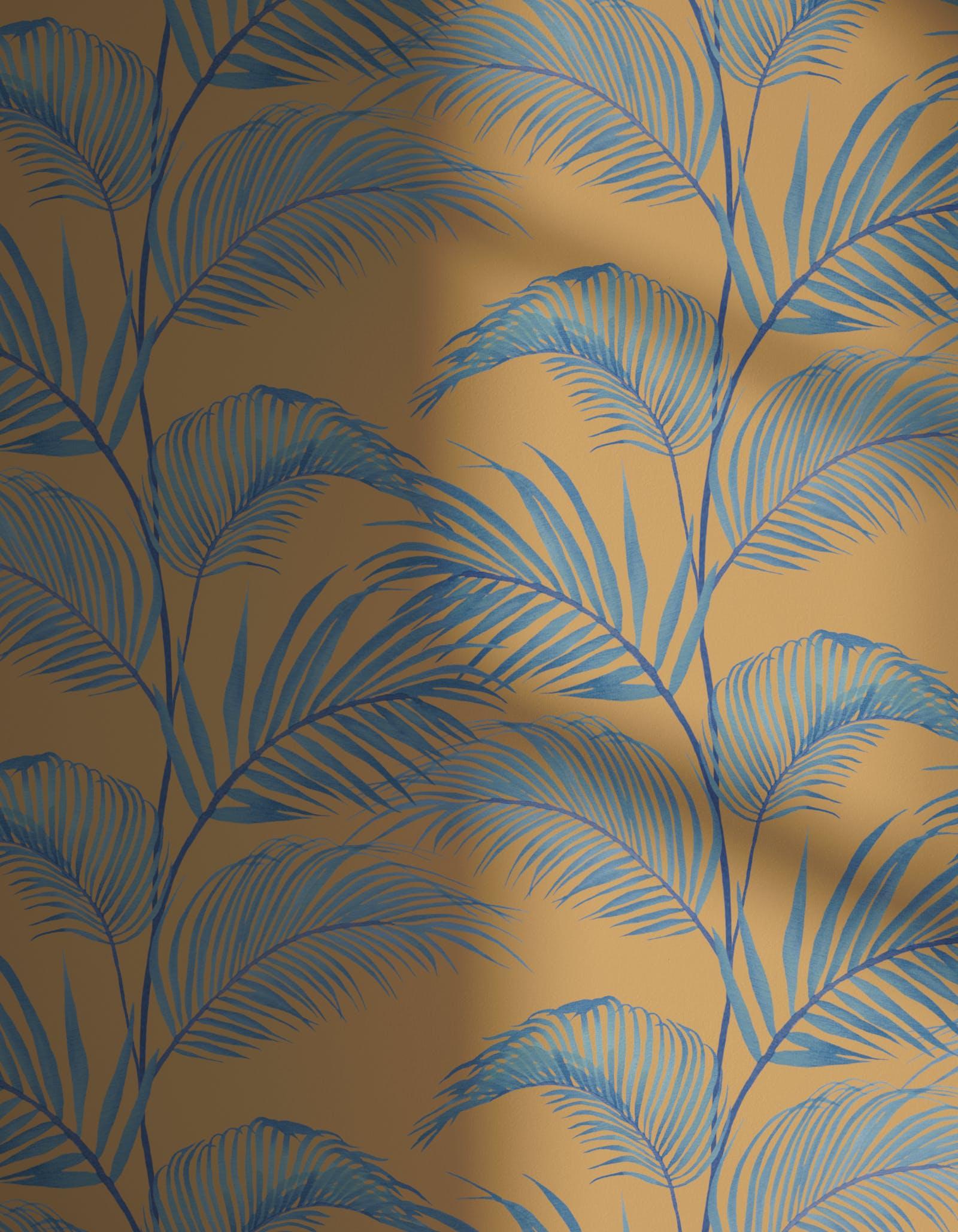 Lick x Belinda Bayley Jungle 01 orange palm leaf wallpaper with shadow