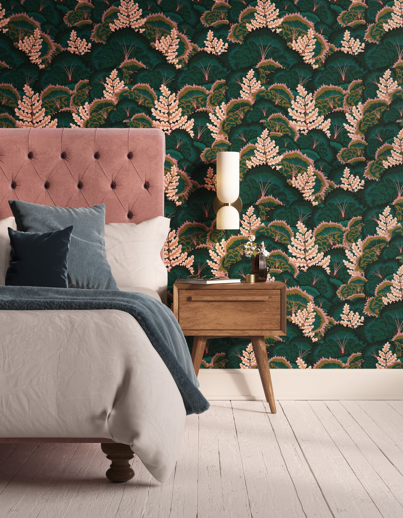 Bedroom decorated with Lick Electric Poppies 02, a green floral wallpaper