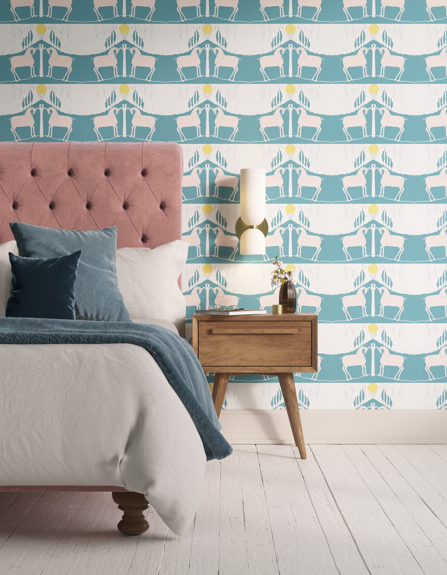Bedroom decorated with Lick x Annika Reed Western 01 teal and yellow animal wallpaper