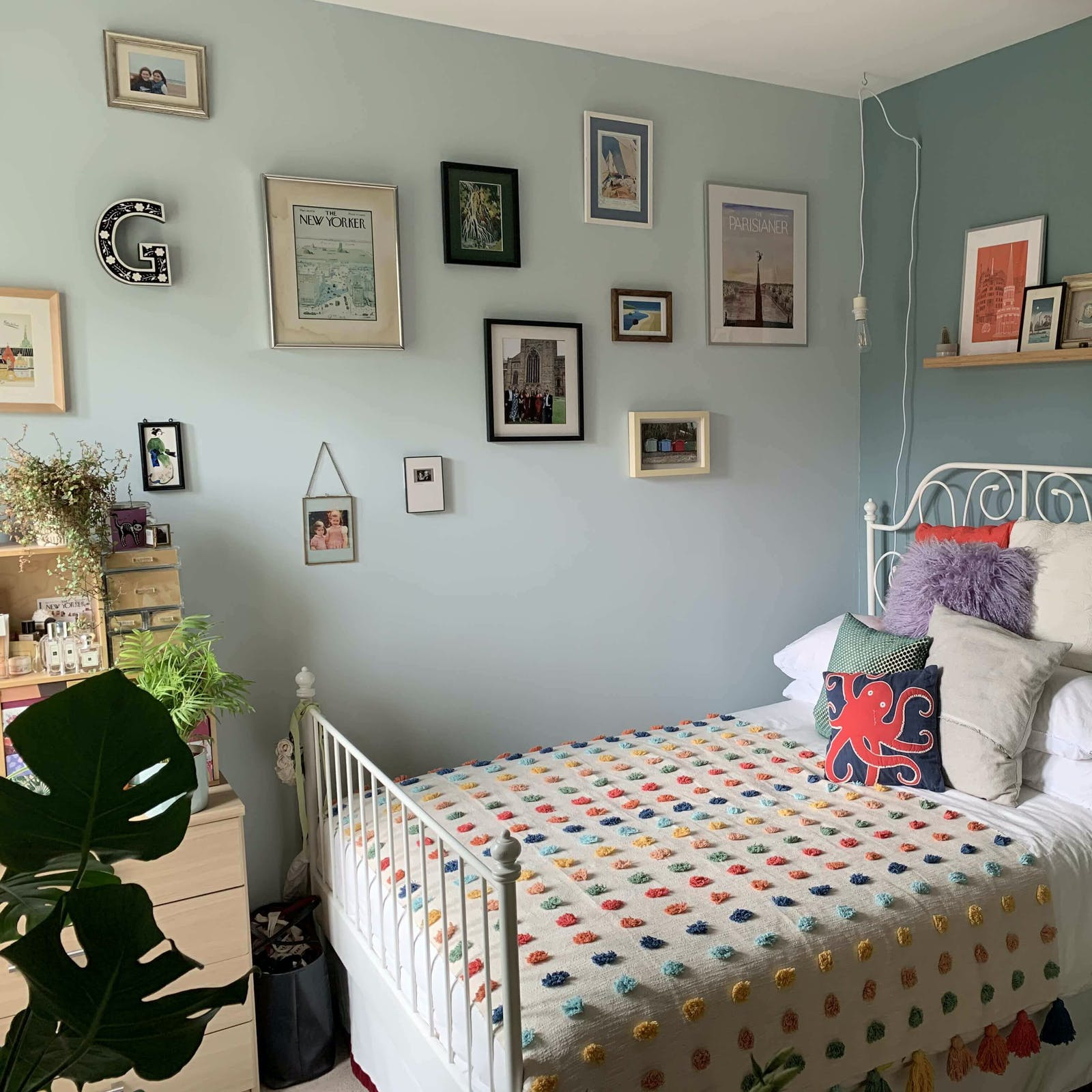 Small bedroom painted in Lick Blue 01 and Teal 01